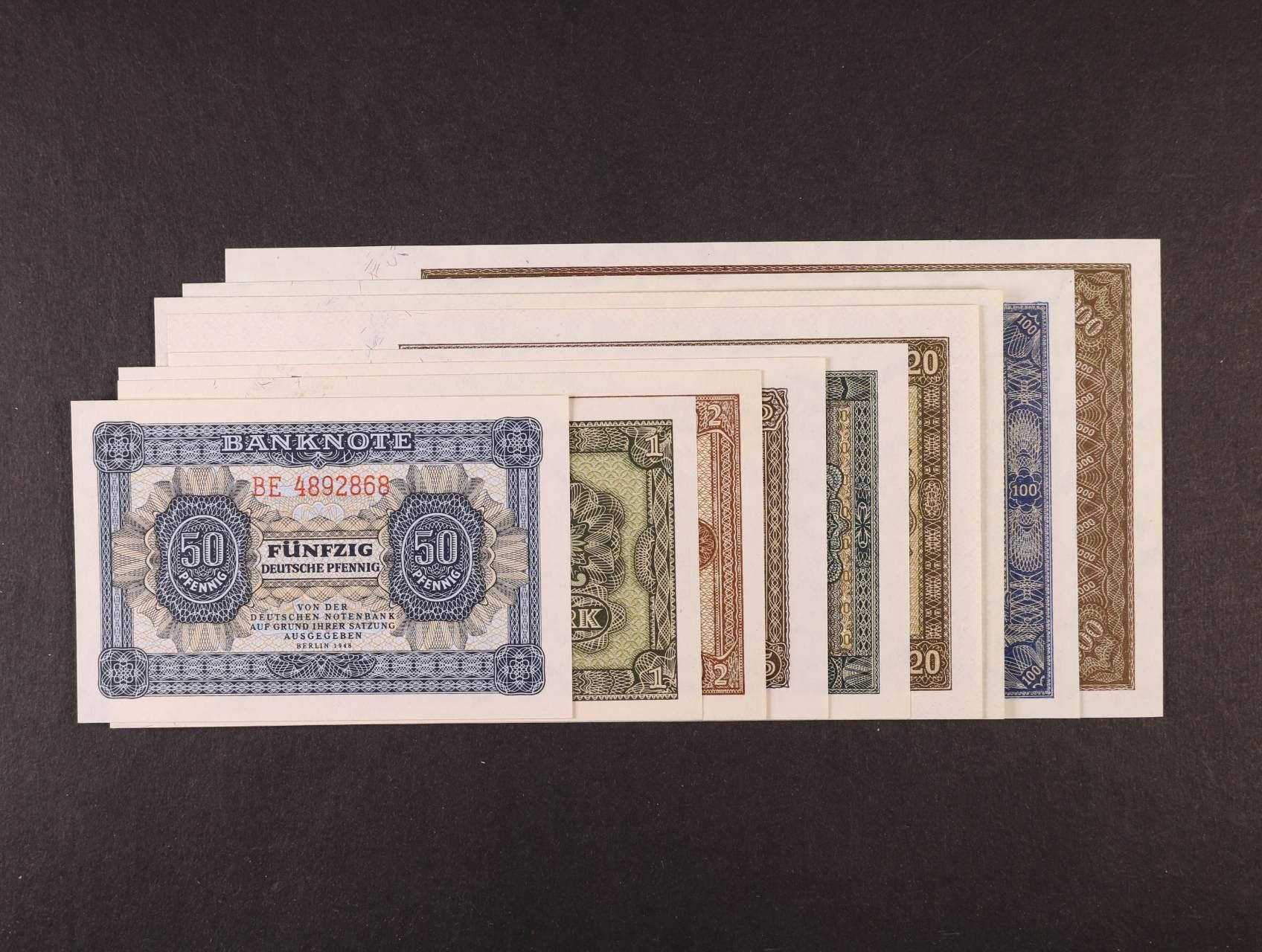 50 DP, 1, 2, 5, 10, 20, 50, 100, 1000 DM 1948, Ro. 339 - 347
