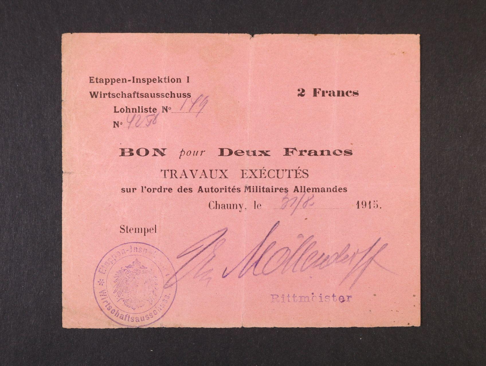 Vydání první armády 1914-1918, Ettappen - Inspektion I. okupace Francie 2 Francs Lohn Bon 1915, Ro. 403a