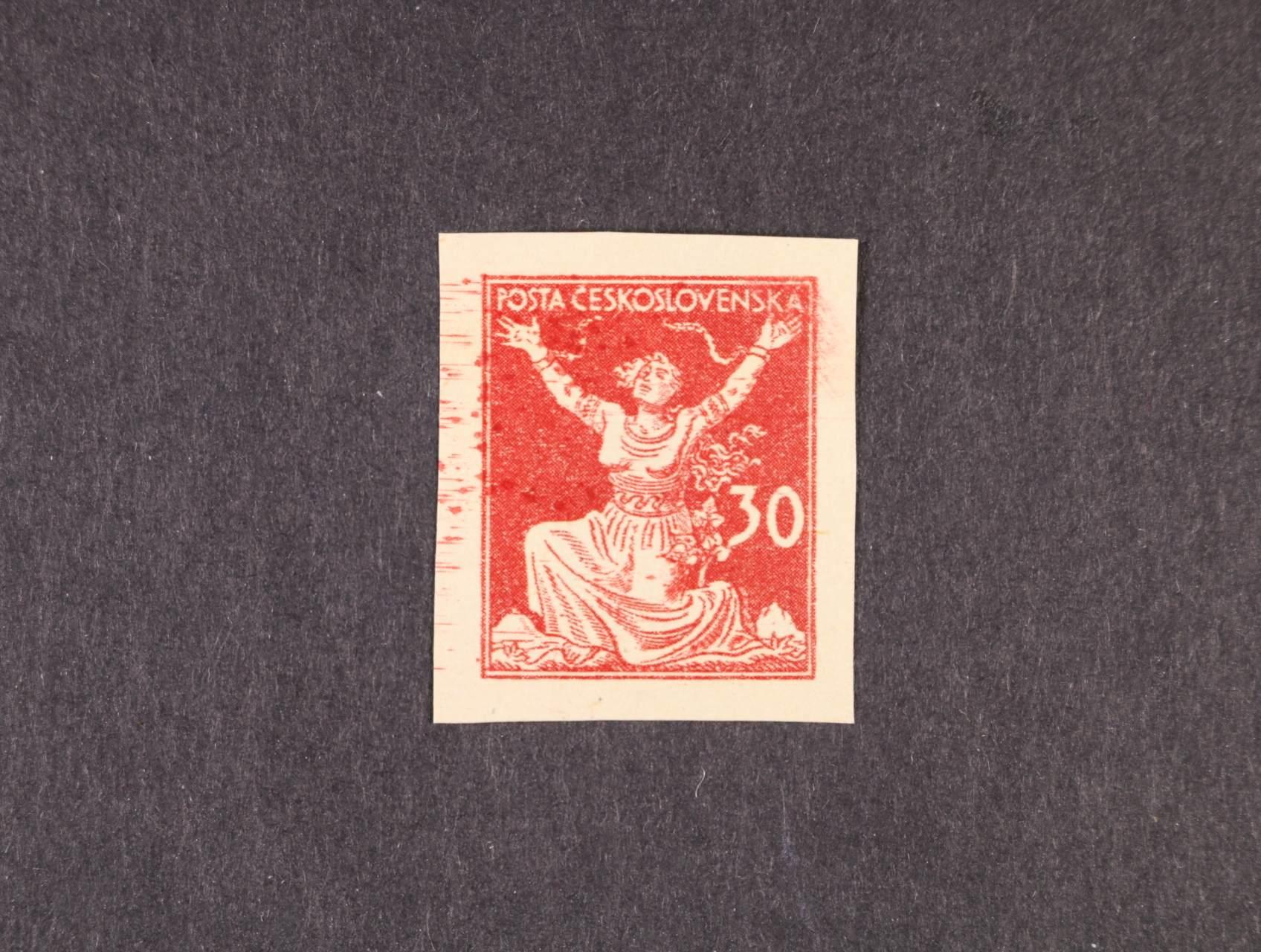 ZT 30h v barvě červené, 2. návrh s jednou nominální hodnotou vpravo, zk. Karásek