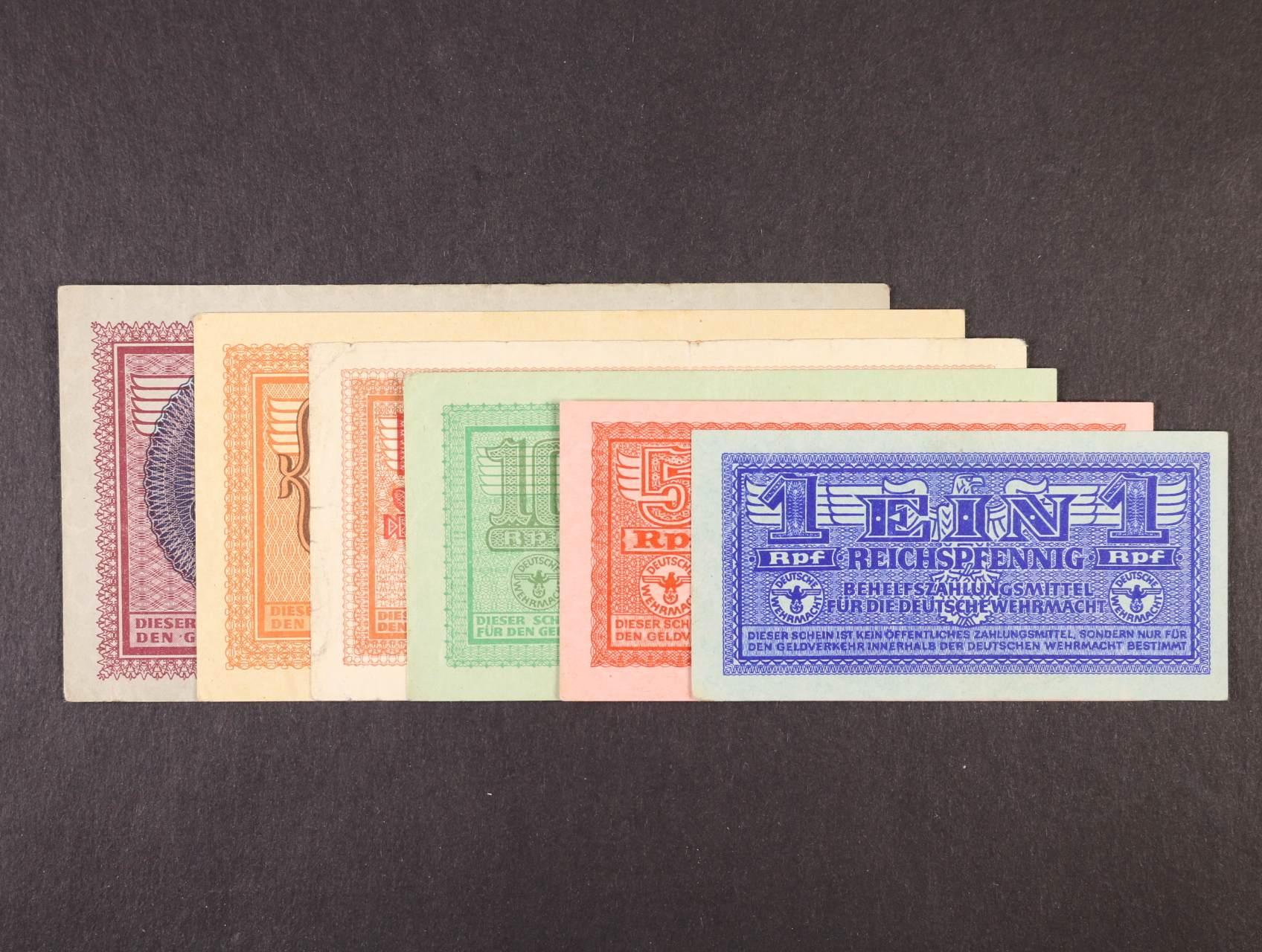 Vydání pro Wehrmacht 1940 - 42, sada 1, 5, 10, 50 Rpf, 1, 2 RM b.d., Ro. 501 - 506