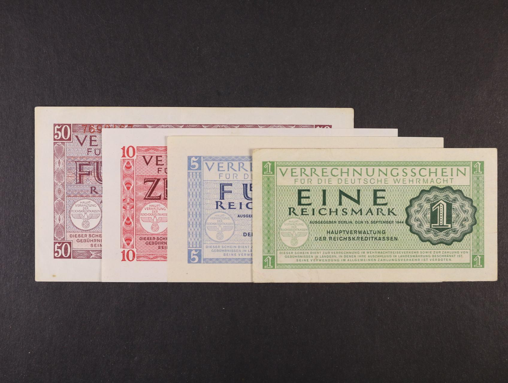 Vydání pro Wehrmacht 1944, sada 1, 5, 10, 50 RM 15.9.1944, Ro. 511 - 514