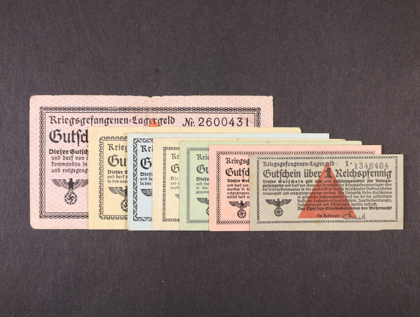 Vydání pro zajatecké tábory 1939 - 1945, sada 1, 10, 50 Rpf, 1, 2, 5, 10 Mark b.d., Ro. 515, 516, 517b, 518, 519a, 520b, 521a
