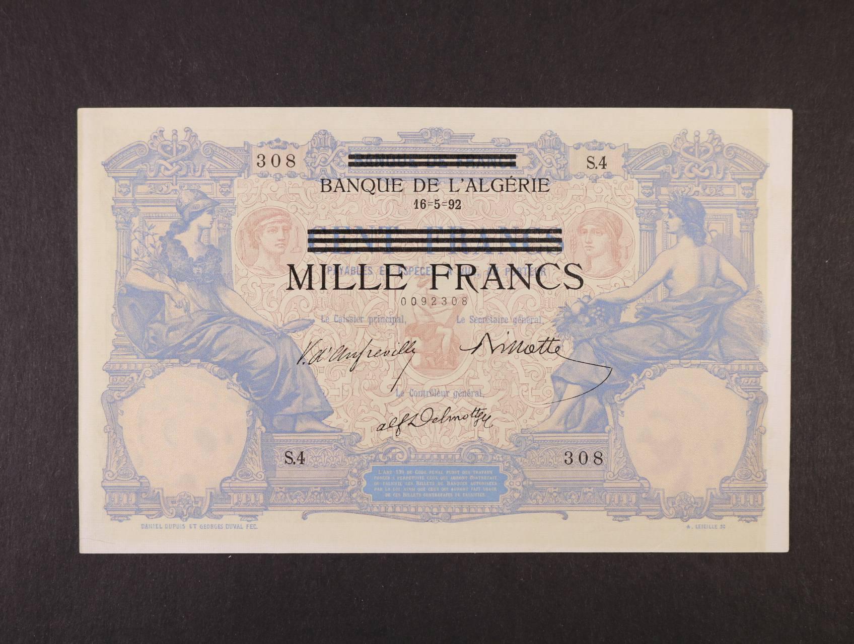 Německá okupace Tunisu 1942-1943, 1000 Francs 16.5.1892/1943, Ro. 668