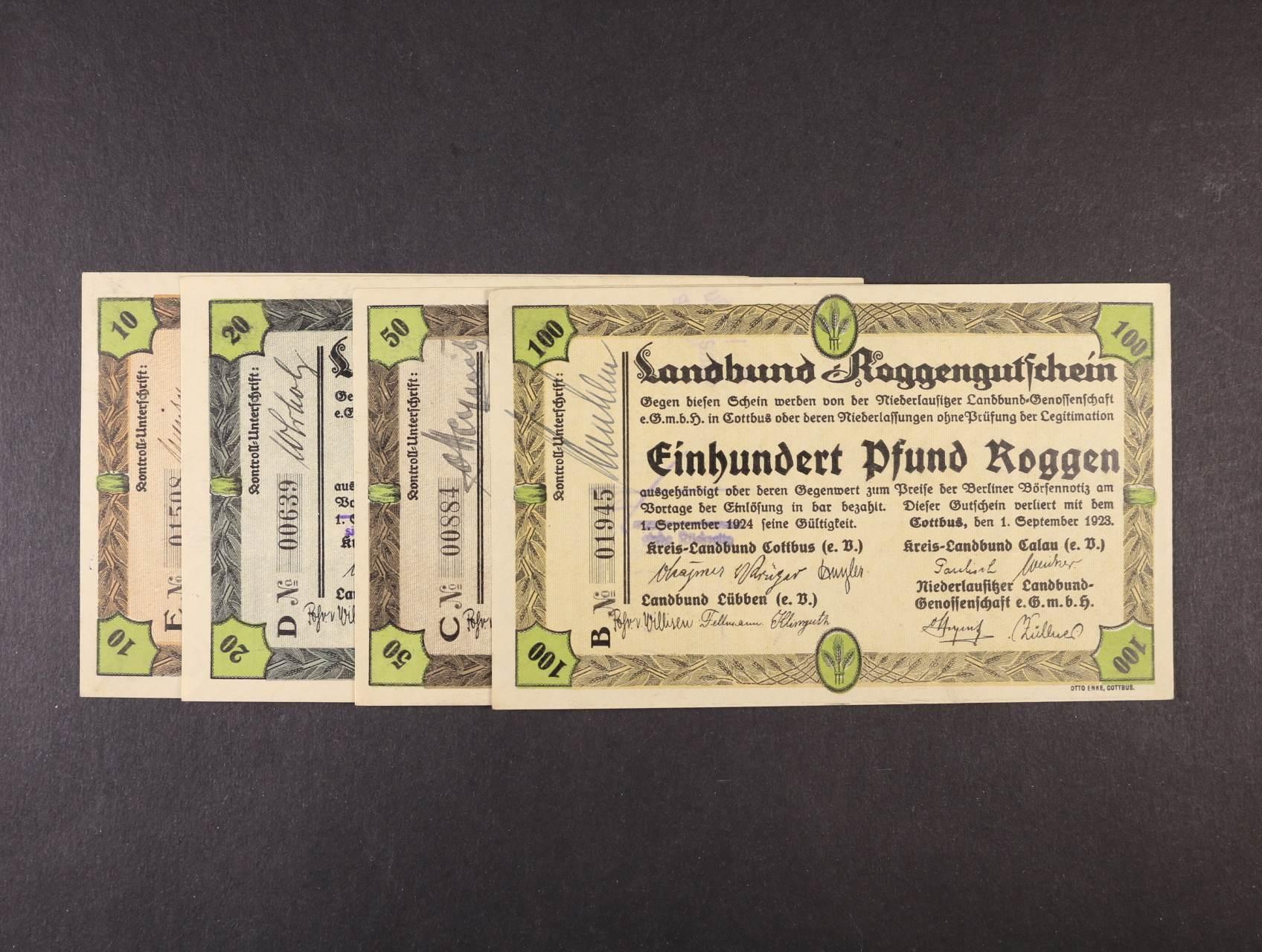 Landbund Roggen Gutsschein, 10, 20, 50, 100 Pfund Roggen (100 liber žita) 1.9.1923 Cottbus, 4ks