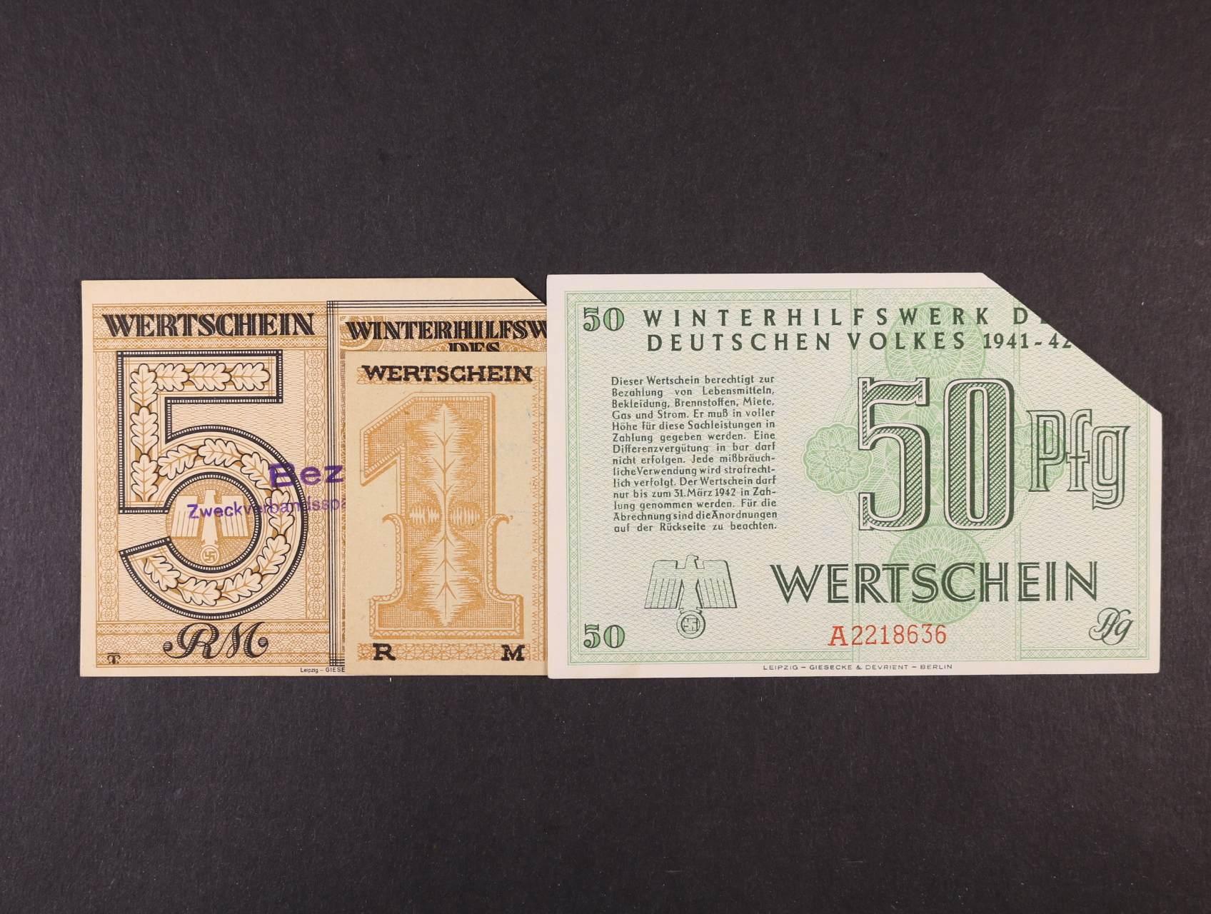 Wertscheine - Winterhilfswek 50 Rpf, 1, 5 Mark 1941 / 1944, ustřižený roh
