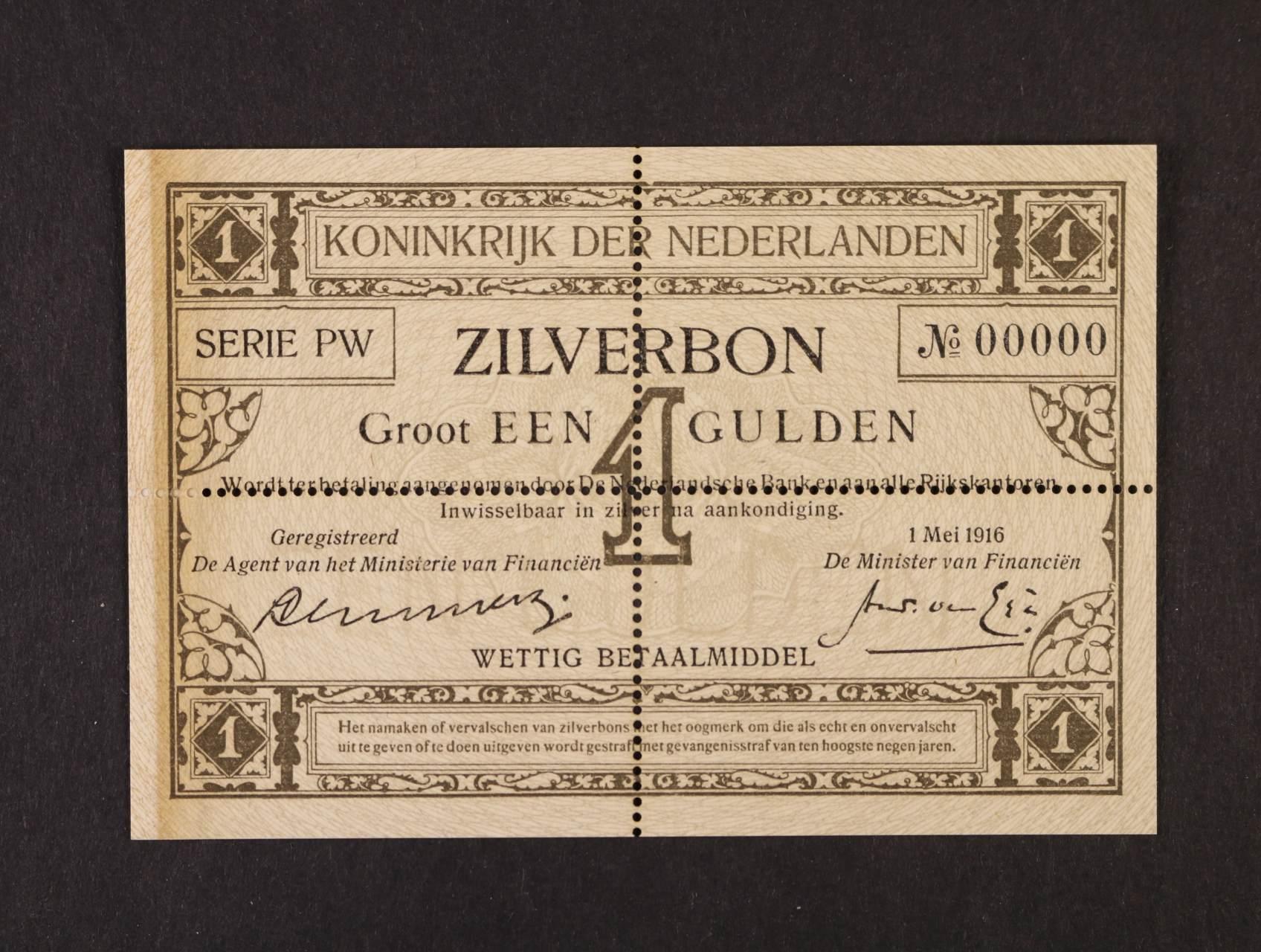 1 Gulden 1.5.1916 série PW anulát s perforací, Pi. 8