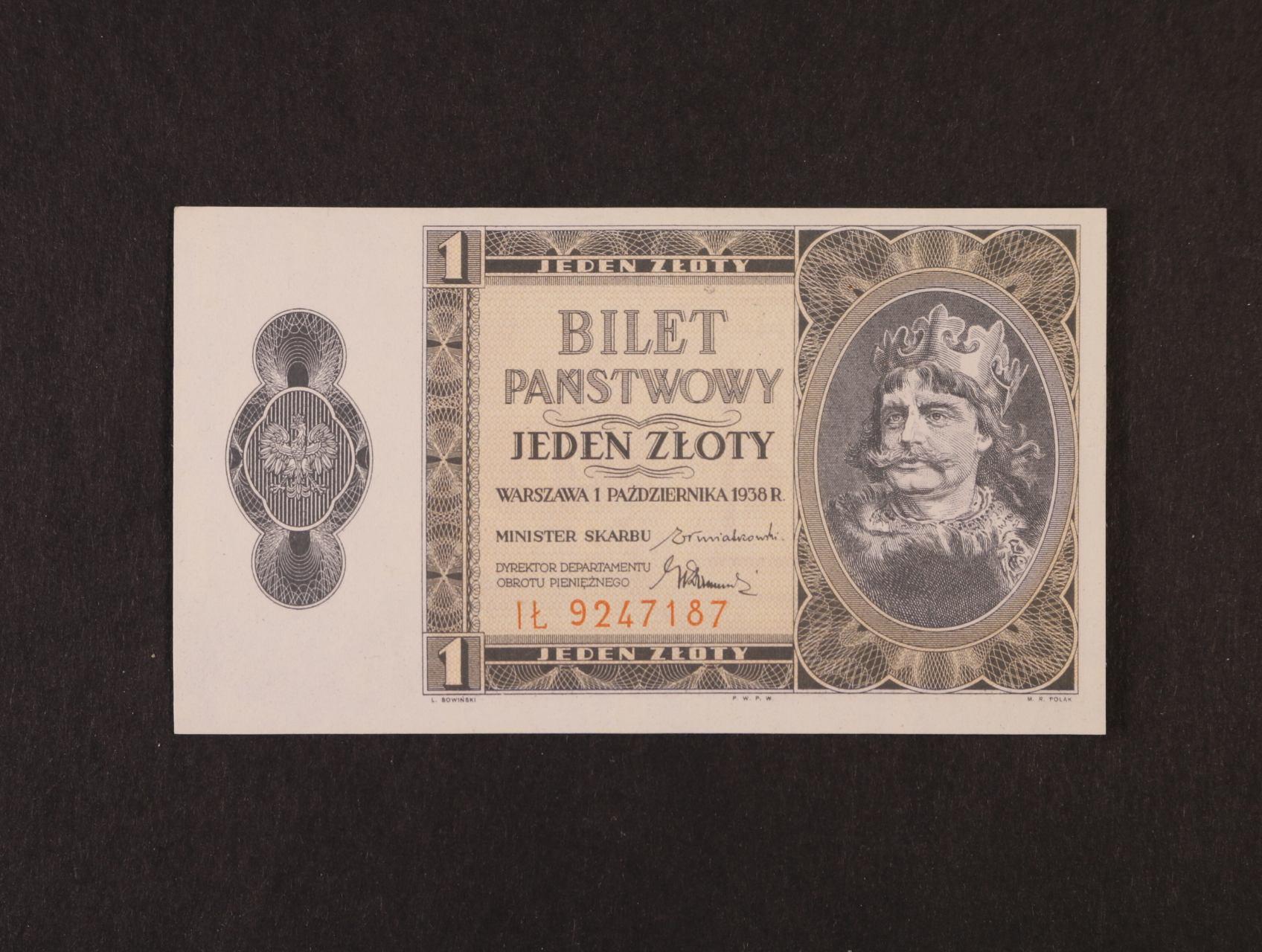 1 Zloty 1.10.1938 série IL, platná na ČS území, Pi. 50, Ba. PL1b
