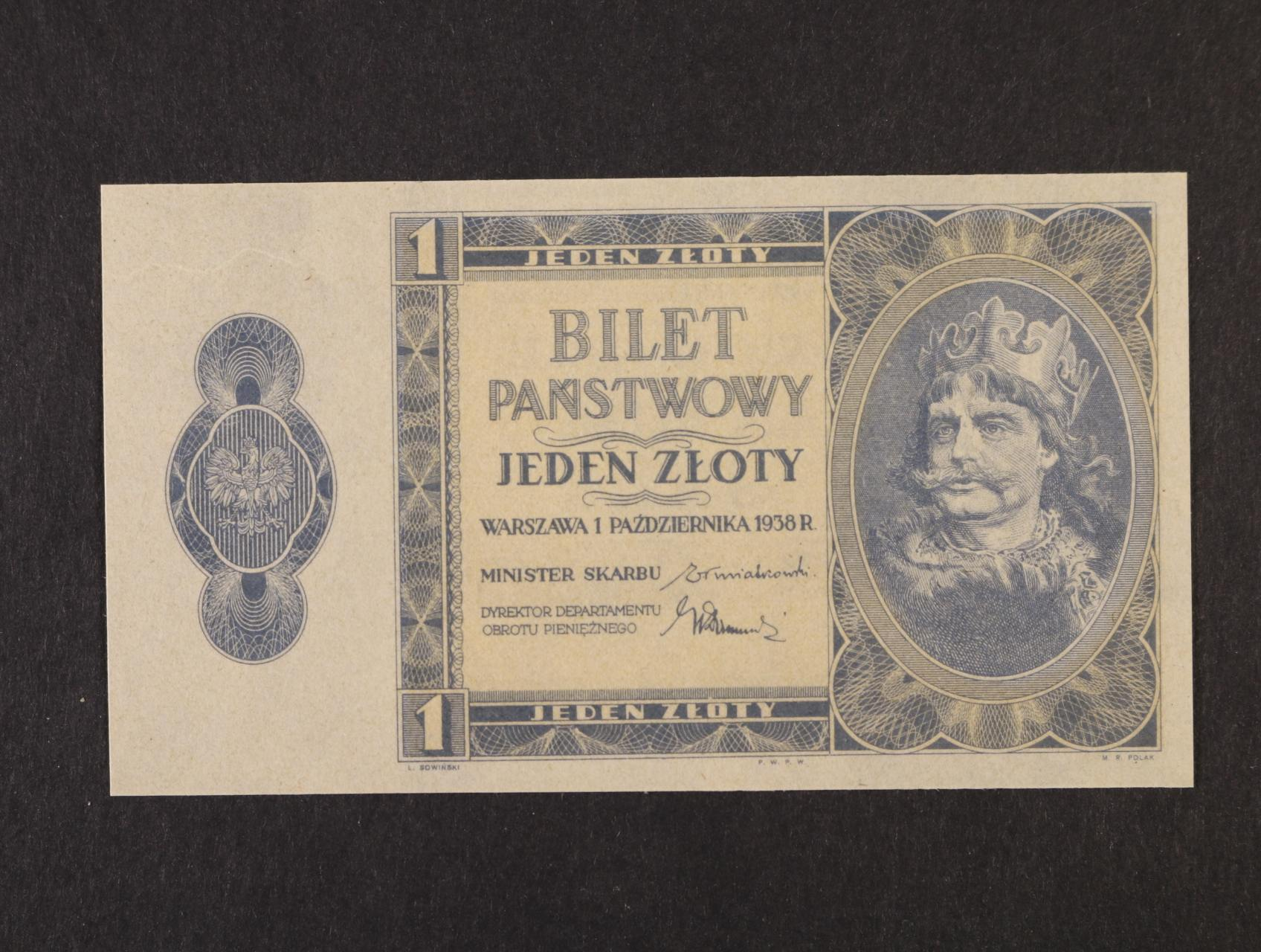 1 Zloty 1.10.1938 bez série a čísla, na rubu posunutý tisk líce, platná na ČS území, Pi. 50, Ba. PL1b