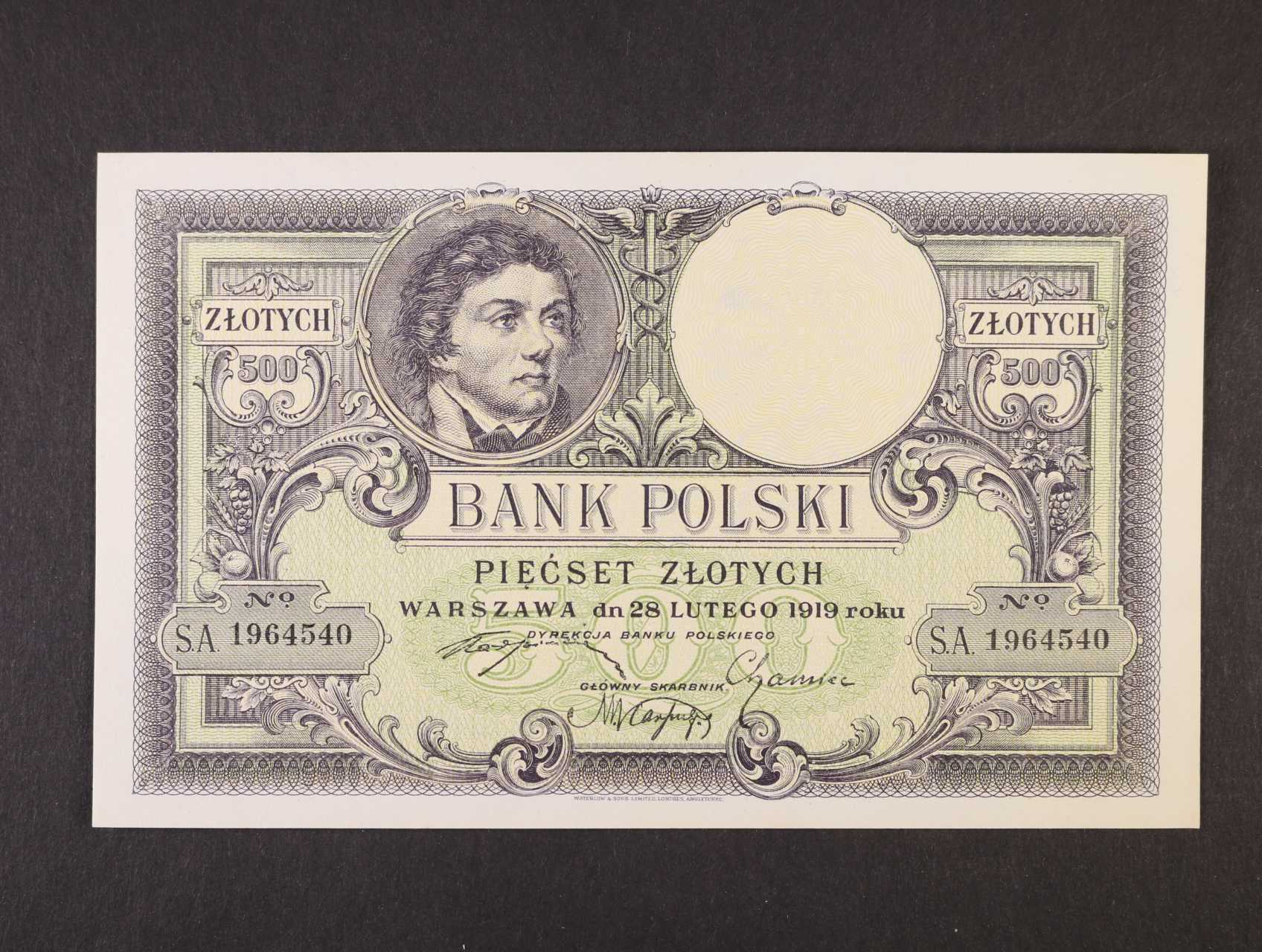 500 Zlotych 28.2.1919 série A, platná na ČS území, Pi. 58, Ba. PL 13