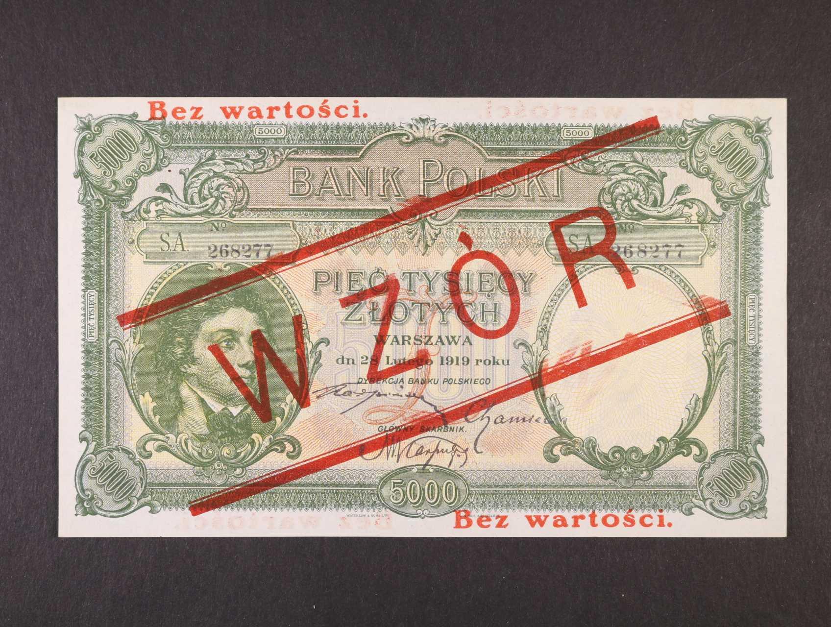 5000 Zlotych 28.2.1919 série S.A. s přetiskem WZÓR, Pi. 60