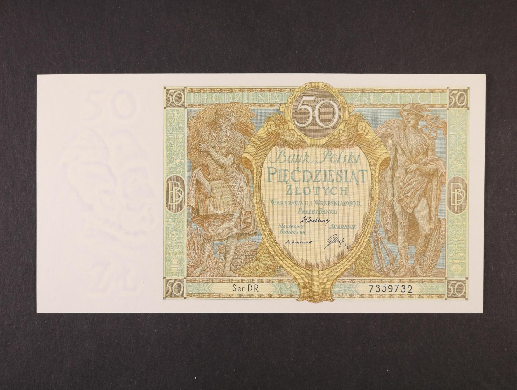 50 Zlotych 1.9.1929 série DR., platná na ČS území, Pi. 71, Ba. PL 9b