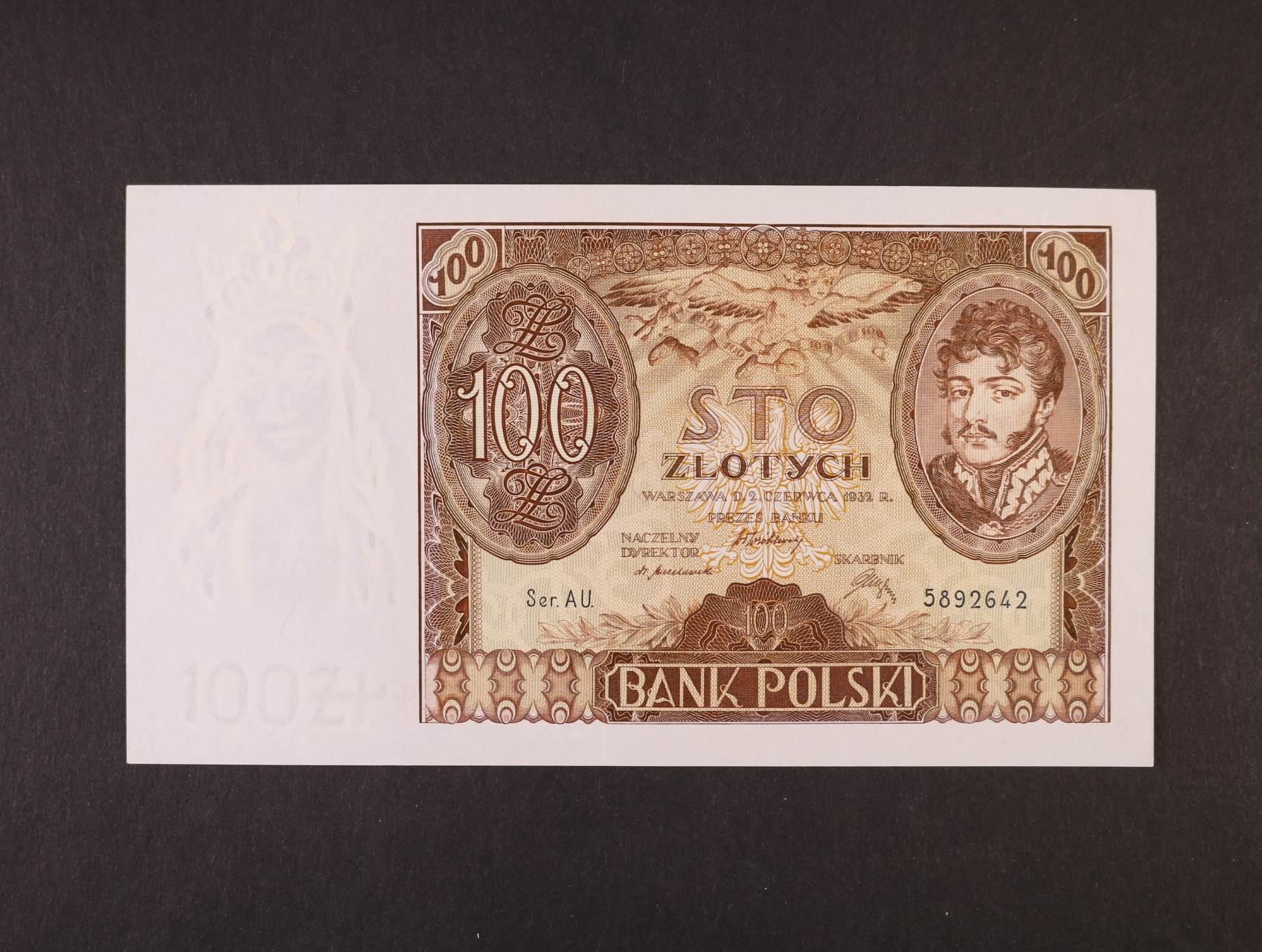 100 Zloty 2.6.1932 série AU., vodoznak