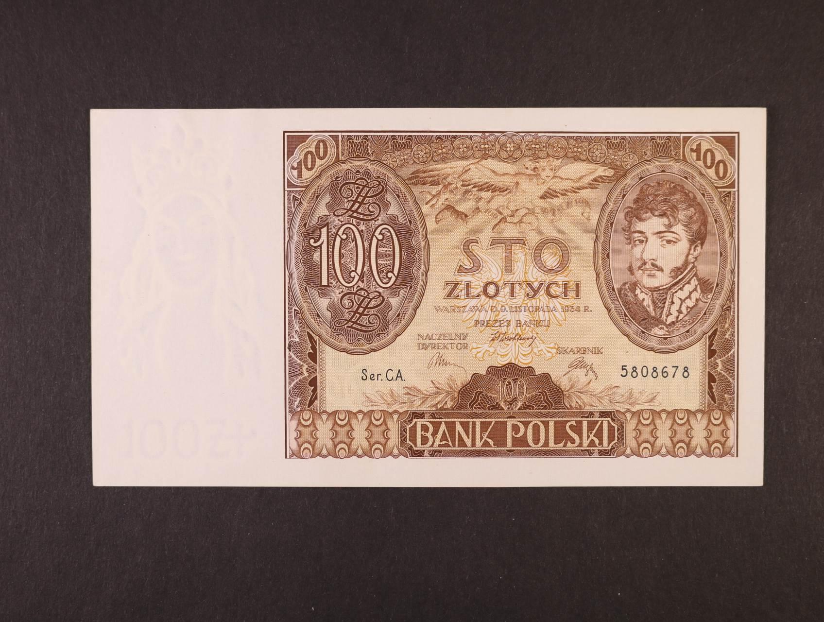 100 Zloty 9.11.1934 série C.A., platná na ČS území, Pi. 75, Ba. PL12c