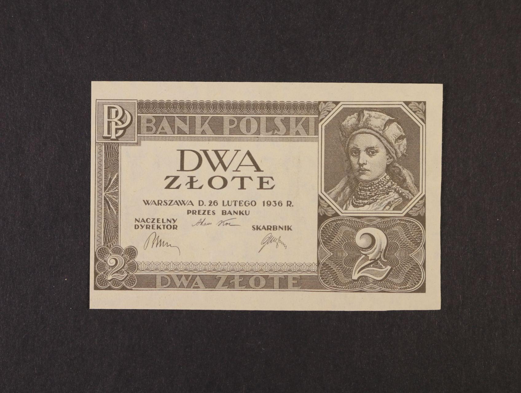 2 Zloty 26.2.1936 bez podtisku série a čísla, platná na ČS území, Pi. 76, Ba. PL 2c