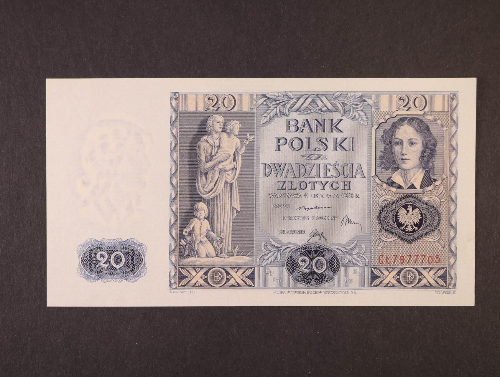 20 Zlotych 11.11.1936, platná na ČS území, Pi. 77, Ba. PL7