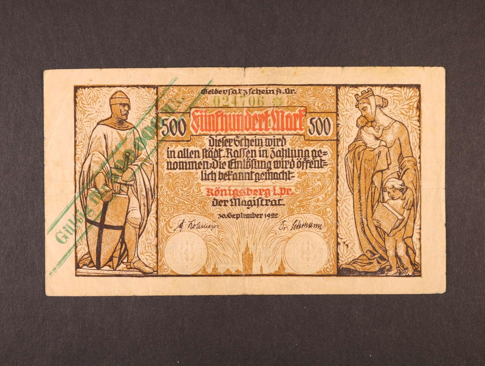 Königsberg, 500.000 Mark 1922 City Gouvernment, Rj. R-13046