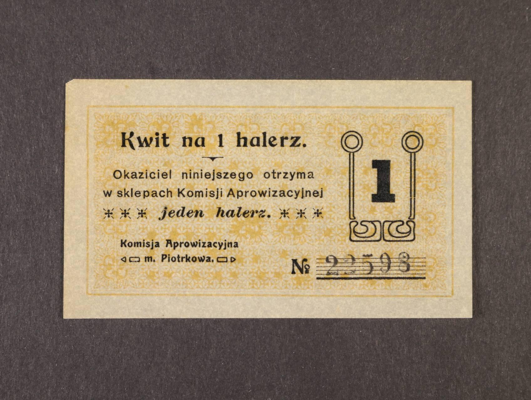 Piotrokow, 1 halerz b.d. Komisija Aprowizacyjna, Rj. R-27226