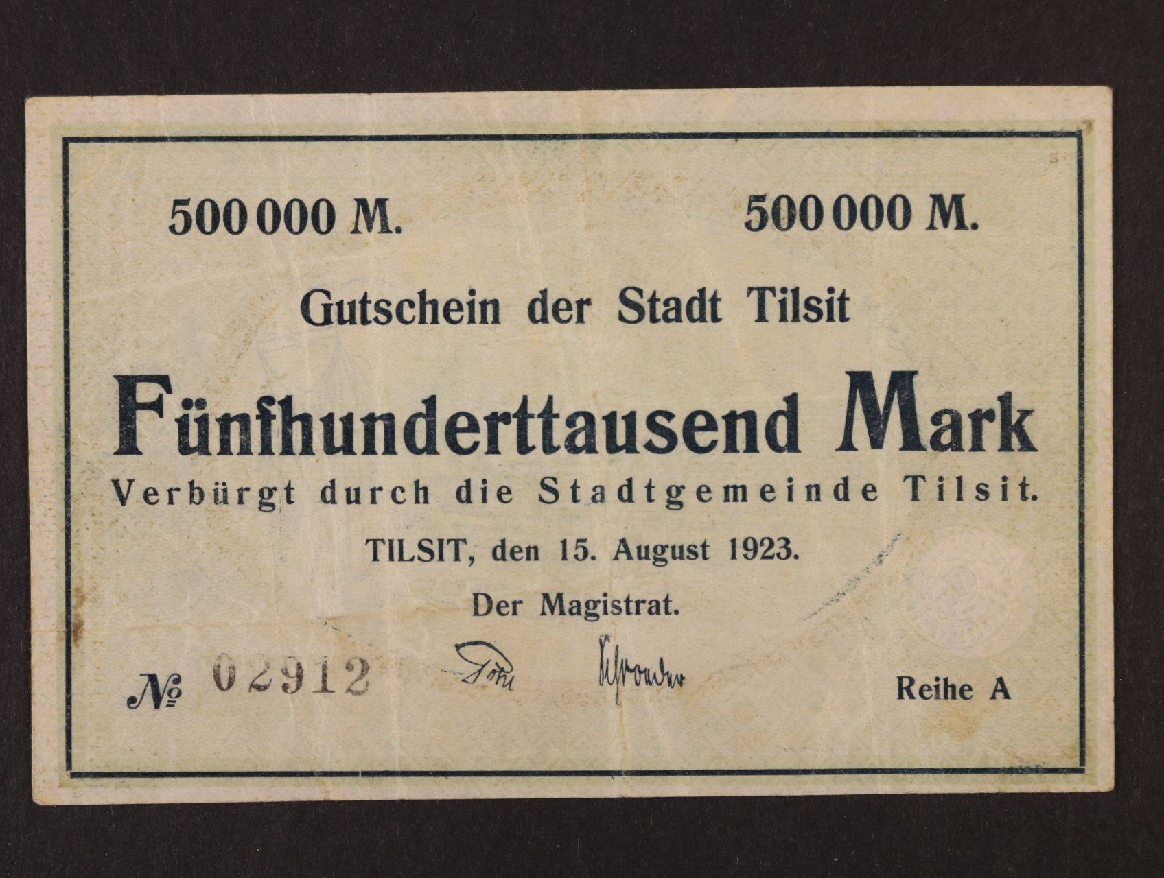 Tilsit, 500.000 Mark 1923 Magistrat, Rj. R-13089