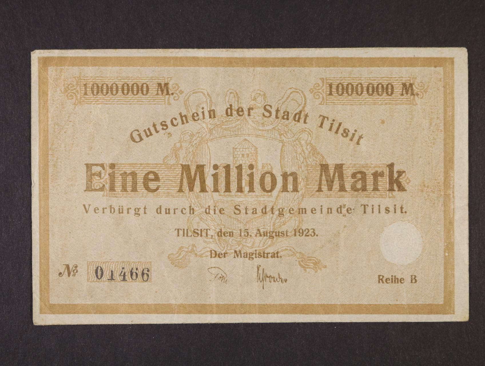Tilsit, 1.000.000 Mark 1923 Magistrat, Rj. R-13089A