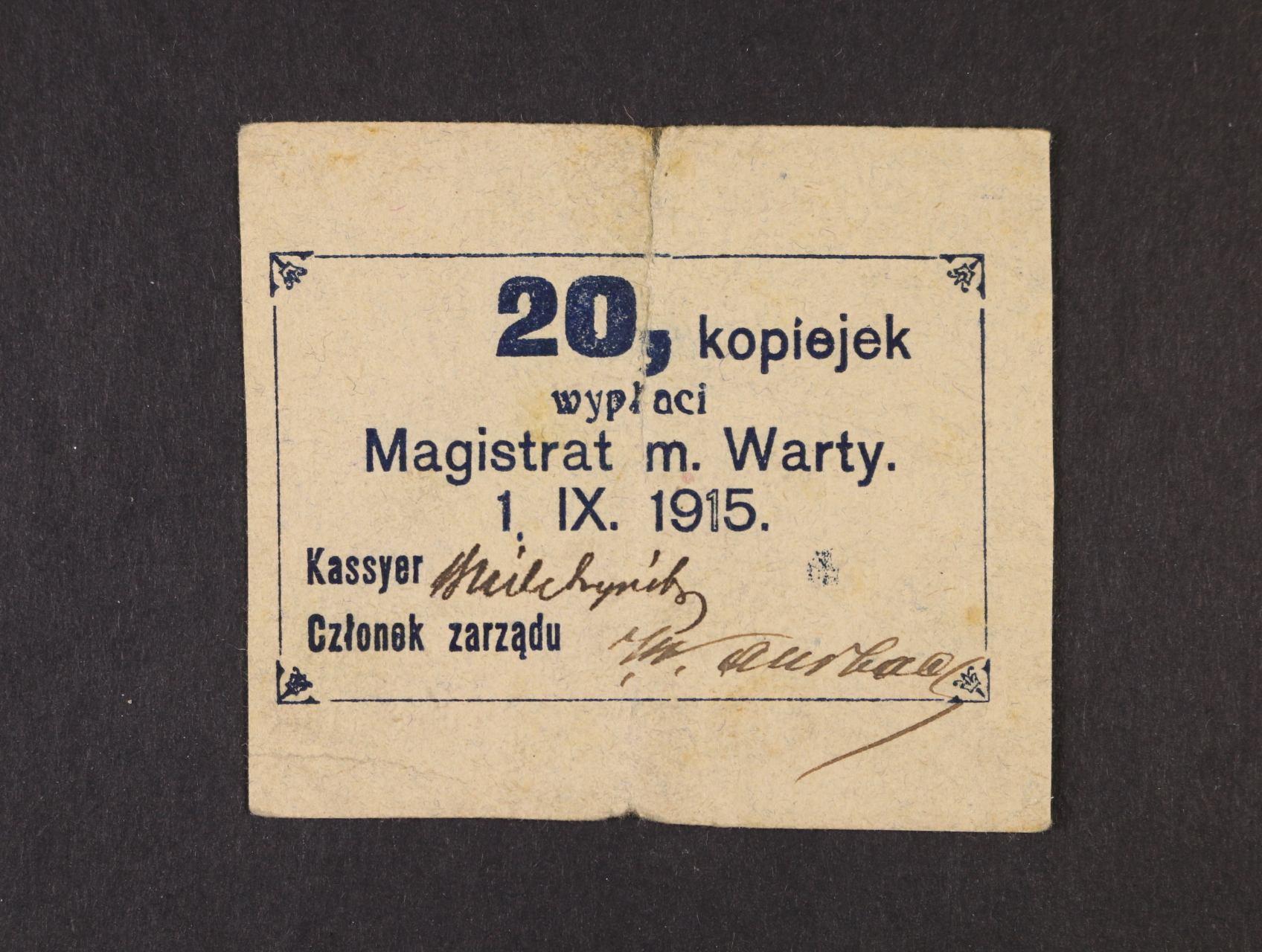 Warty, 20 kop. 1.9.1915 Magistrat, Rj. R-26730a