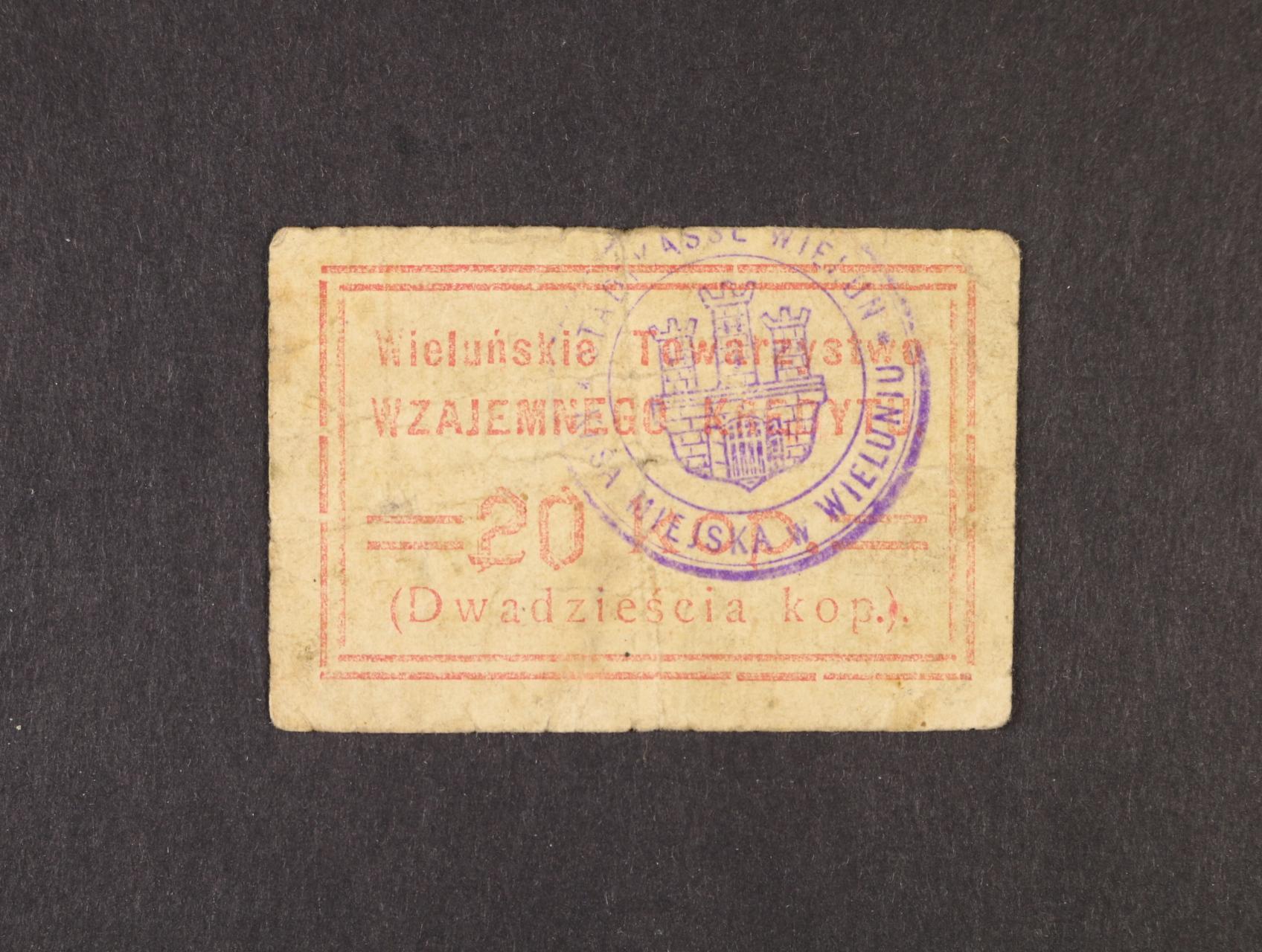 Wielun, 20 kop. b.d. Community of Mutual Credit, Rj. R-26752