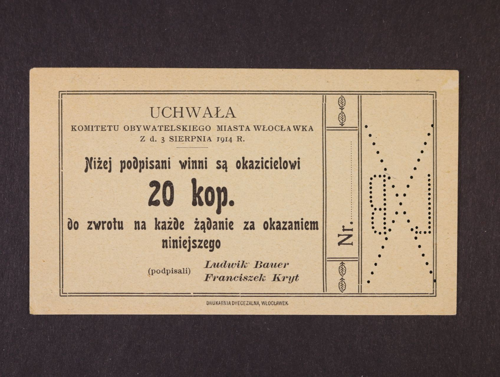 Wloclawek, 20 kop. 1914 Komitet, Rj. R-26832
