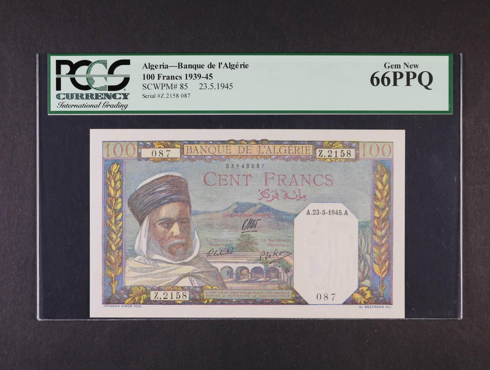 100 Francs 23.5.1945, Pi. 85, PCGS 66PPQ