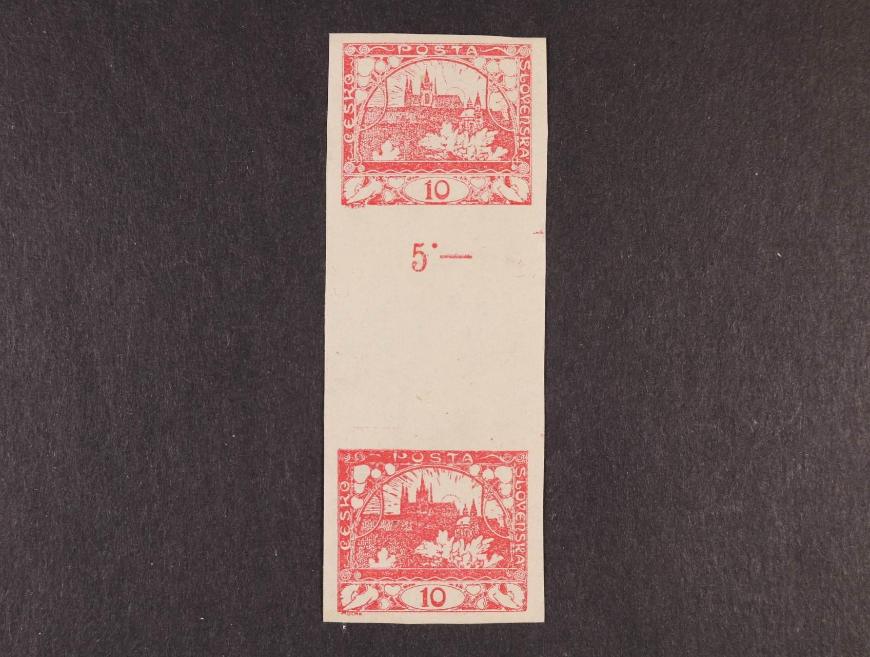 zn. č. 5 Ms - dvojzn. stejnosměrné meziarší nepřeložené, kat. cena 7500 Kč