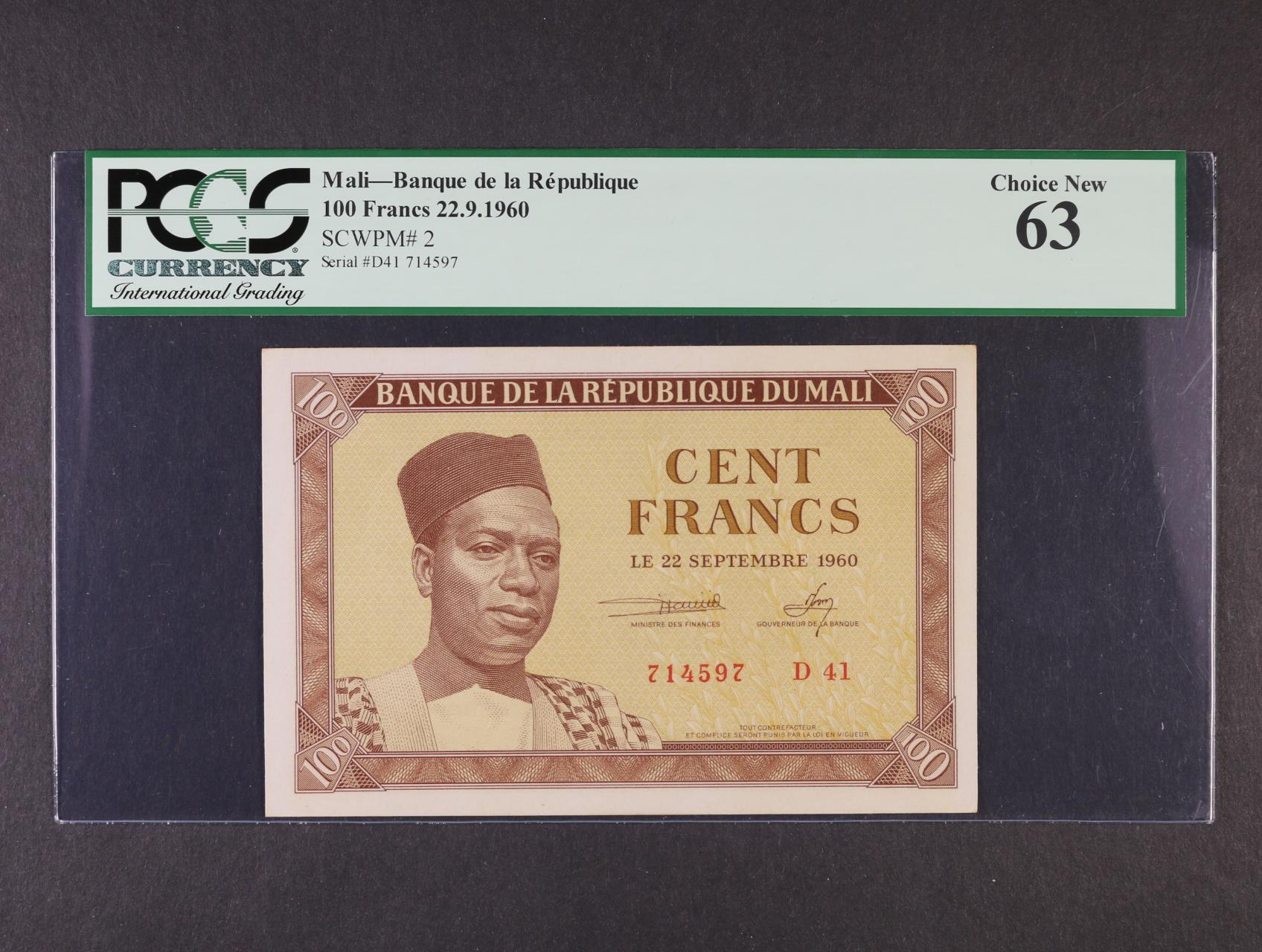 100 Francs 22.9.1960, Pi. 2, PCGS 63