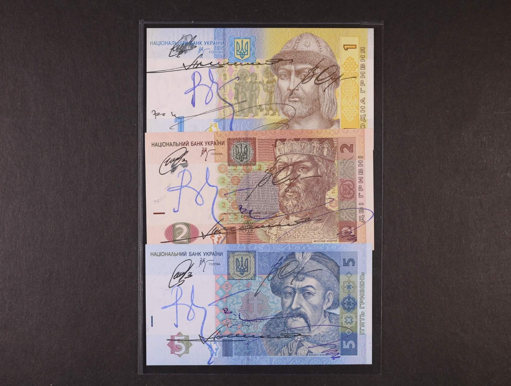 Ukrajina, 1, 2 a 5 Hryven s orig. podpisy