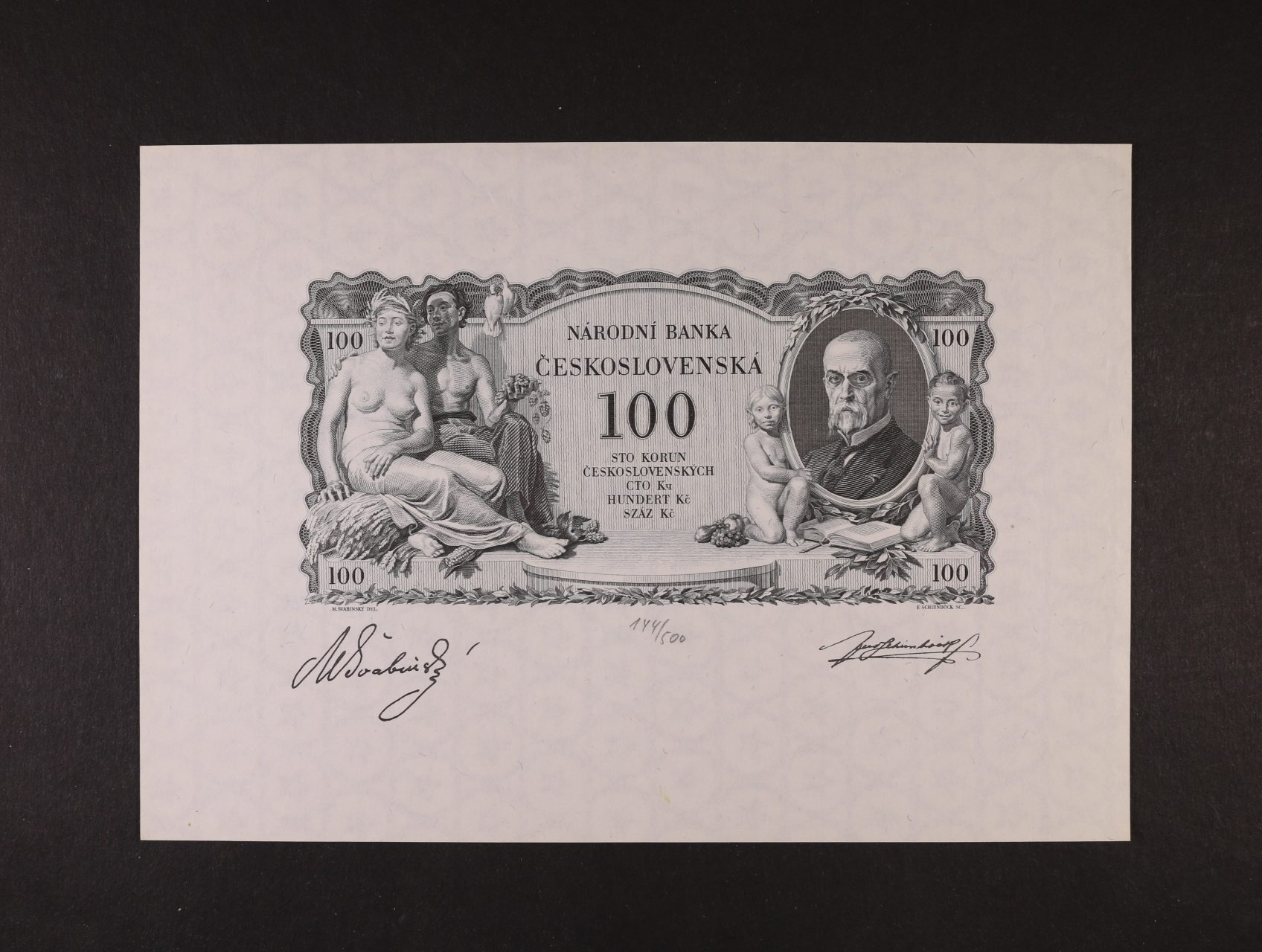 100 Kč 1931, hlubotiskový nátisk líce na papíře s průsvitkou, faksmile podpisů, č. 144/500