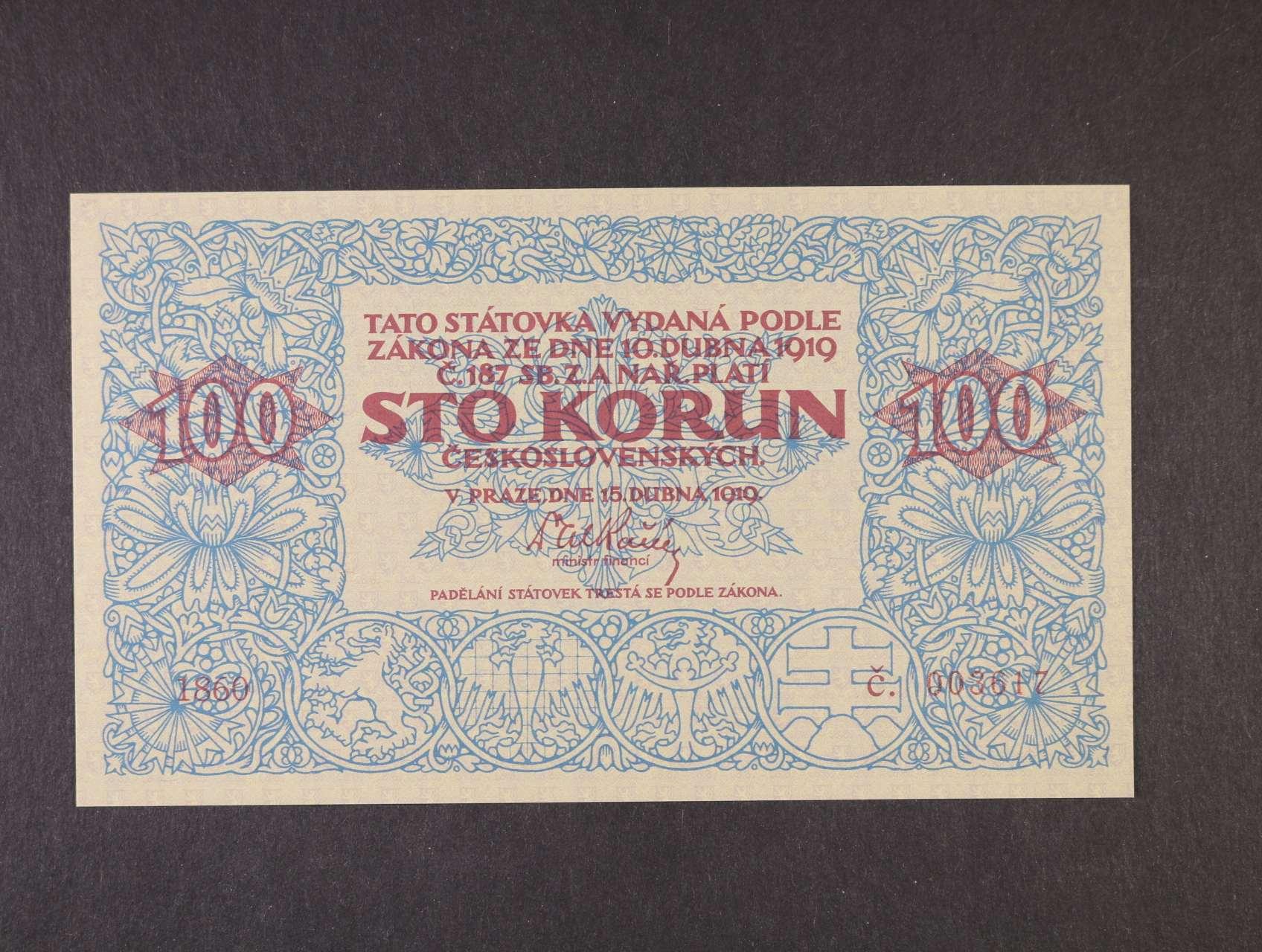 100 Kč 1919 kopie na papíře s vodoznakem, uv tisk STC, vydání ke 100.letům republiky - Ivančice 2018