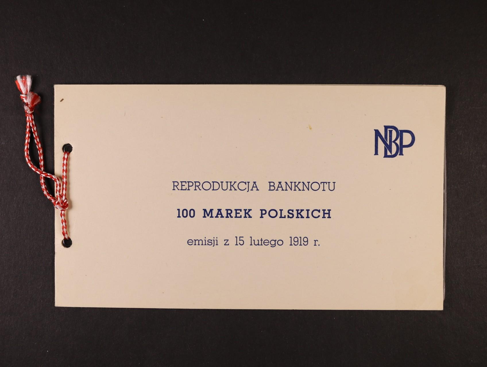 Polsko, oficielní kopie 100 Marek Polskich 1919 z NBP včetně obalu