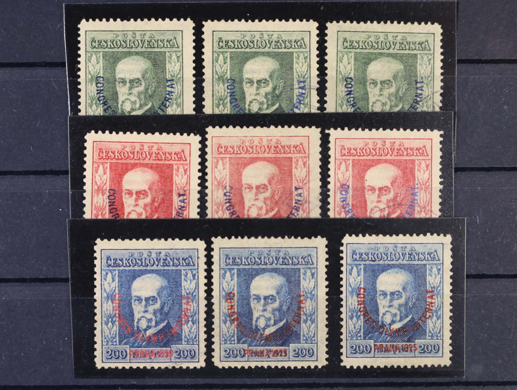 zn. č. 180 (pr. 5, 6 a 8), zn. č. 181 (pr. 5, 6 a 7), zn. č. 182 (pr. 5, 6 a 7), některé zn. zk. Gilbert, Karásek, kat. cena cca 3800 Kč
