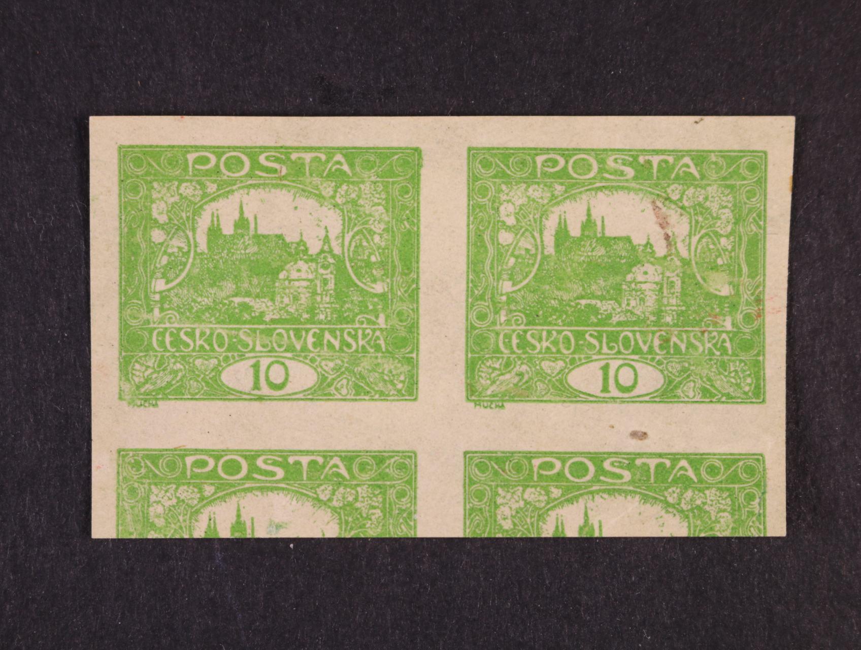 zn. č. 6 STr 10h ve vodorovné dvoupásce, dvojitý tisk stejné hodnoty na přední straně a tisk na lepu se STr, II. typ rámečku ZP 55, TD 1, zk. Vrba, atest Vrba, jedná se o jednu z nejdražších variant hradčanských známek
