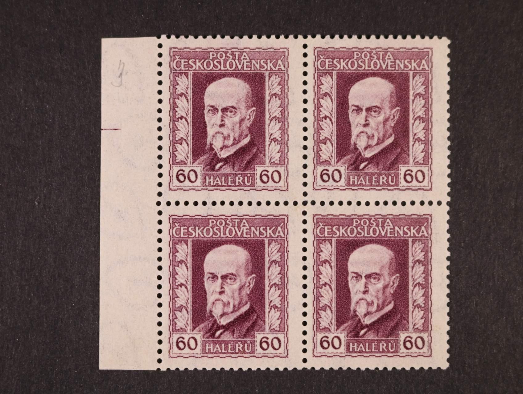 zn. č. 189 Ax pergamenový papír, pr. 3,  ve čtyřbloku s levým okrajem