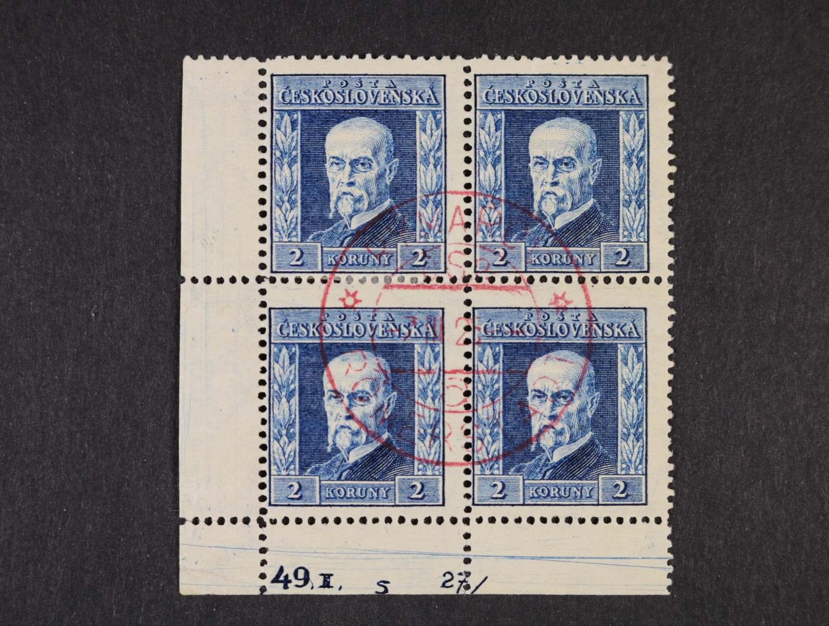 zn. č. 191B, pr. 6, - levý spodní roh. čtyřblok s DZ 49.I.   5  27/  s kompl. červeným raz. ROMERSTADT 7.3.25