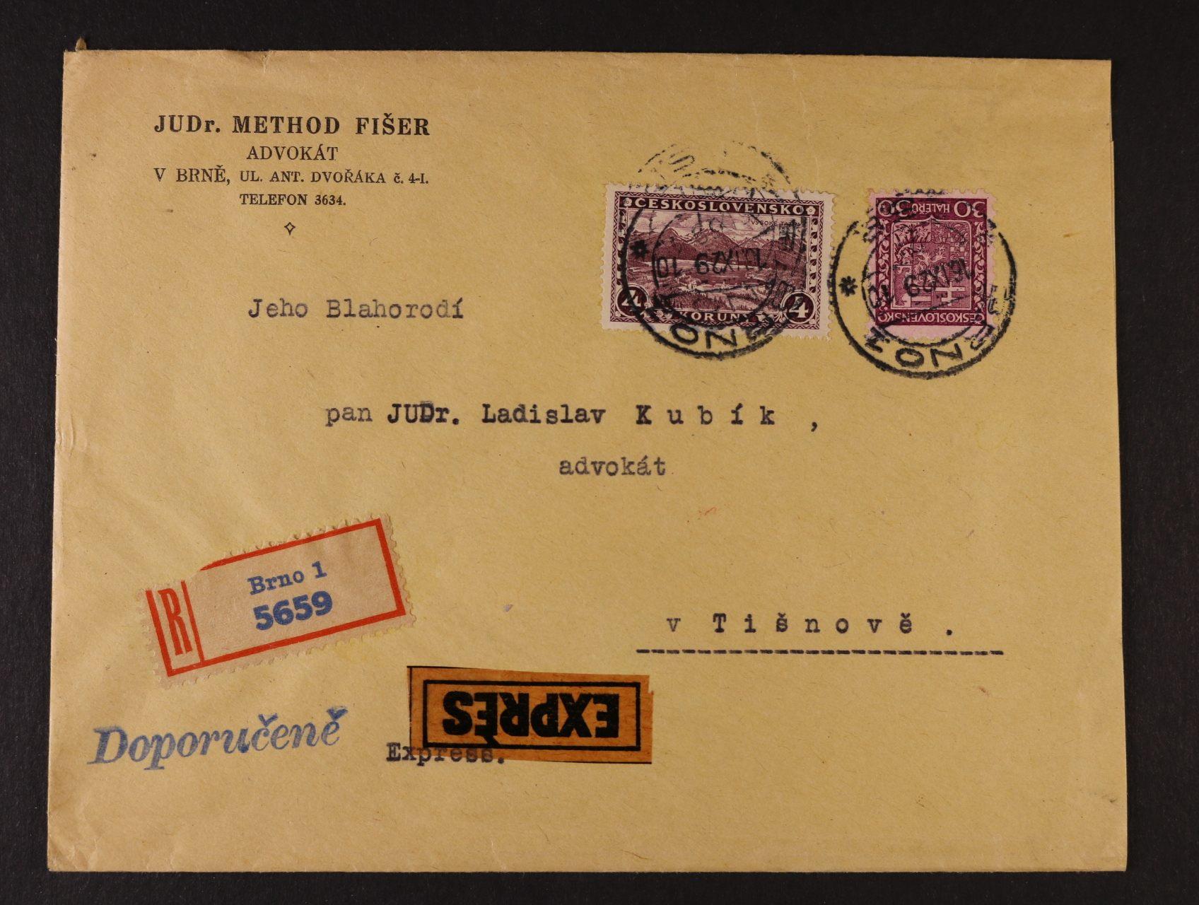 firemní R-EXPRES dopis frank.mj. zn. č. 227, pod. raz. BRNO 16.9.29