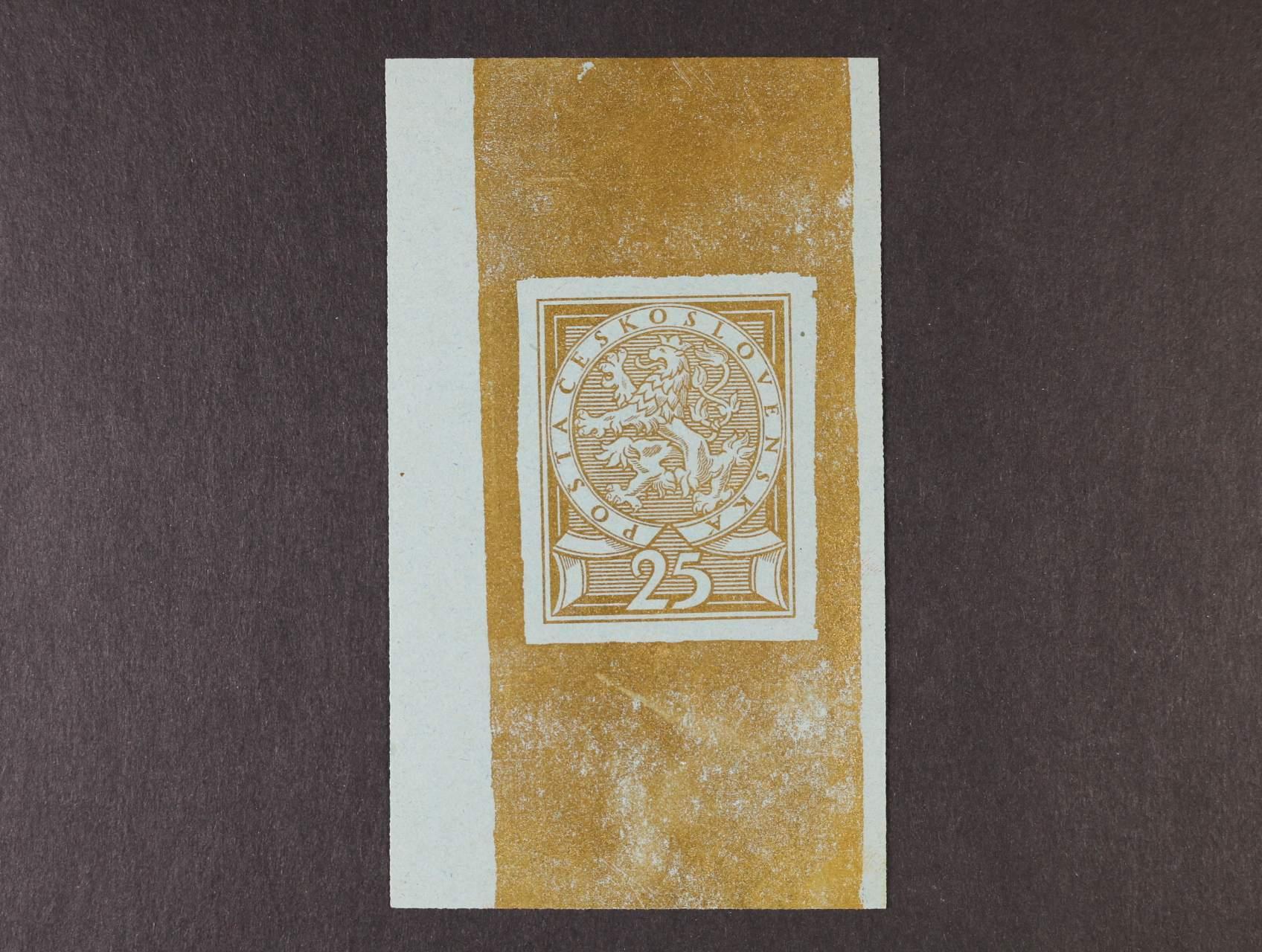 předlohový tisk nepřijatého návrhu  25h od V. H. Brunera, 3. soutěž, větší formát 34 x 44 mm ve zlaté barvě na kousku světlemodrého papíru z nevyčištěné desky