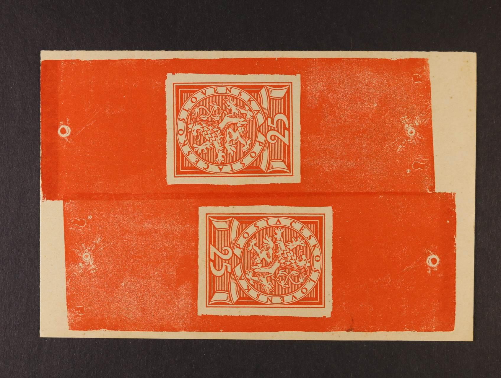 předlohový tisk nepřijatého návrhu 25h od V. H. Brunera, 3. soutěž, větší formát 34 - 44 mm v protichůdném soutisku v červené barvě na kousku papíru z nevyčištěné desky