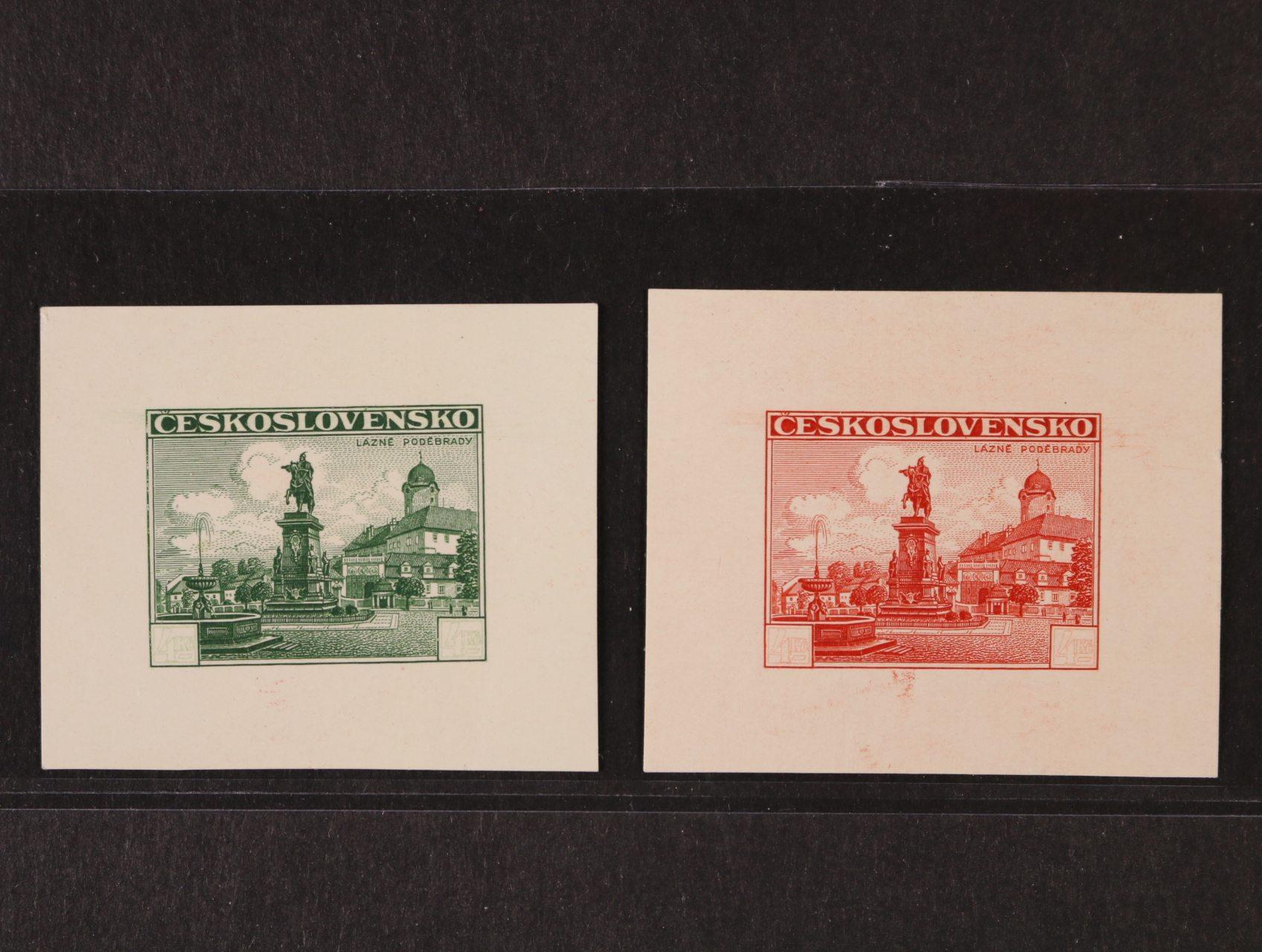 ZT Pof.311, 2x Poděbrady 4Kč, otisky rytiny se slabě prorytými hodnotovými štítky, na lístcích papíru 50x40mm