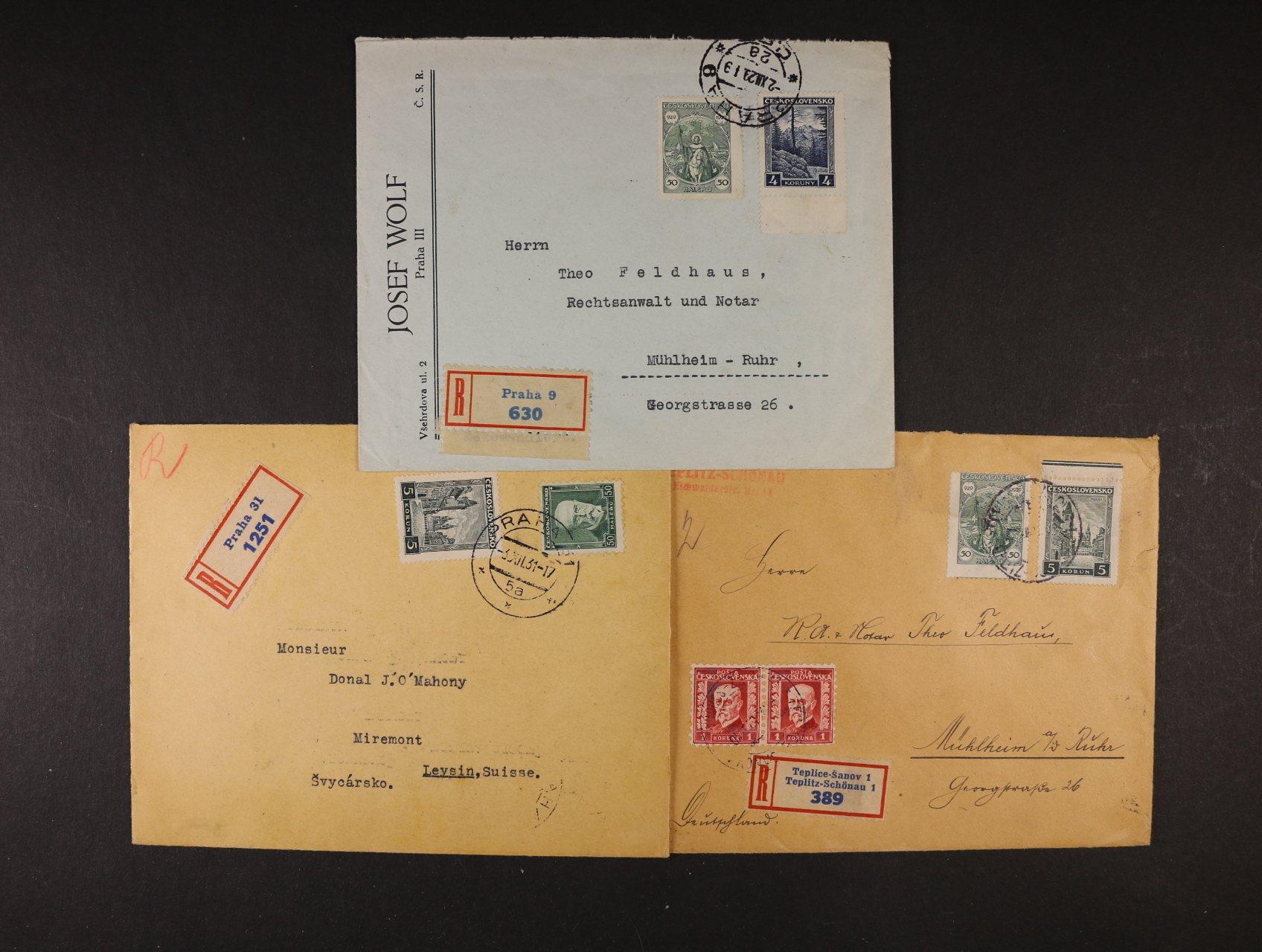 sestava 3 ks firemních dopisů do Německa a Švýcarska frank. mj. zn. č. 255, 256, přích raz. zajímavé vysoké frankatury