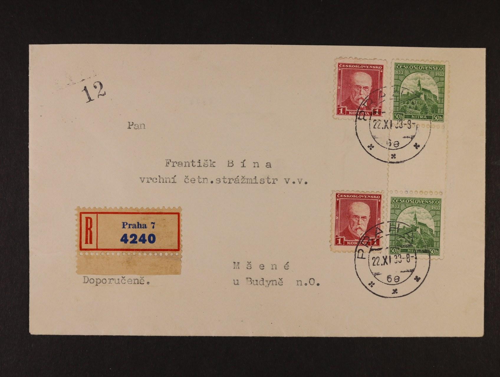 R-dopis do Mšené frank. zn. č. 260 (2x) a dvouzn. svislým