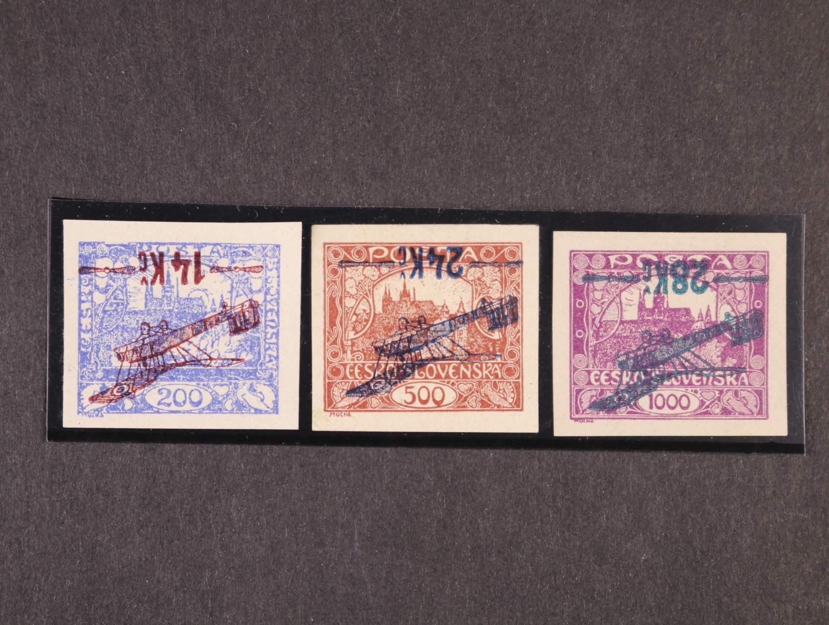 zn. L č. 1 Pp - L 3 Pp, převrácený přetisk, (L 2, typ II s obtiskem přetisku)), zk. Mahr, Möbs, Fischmeister, kat. cena 18000 Kč