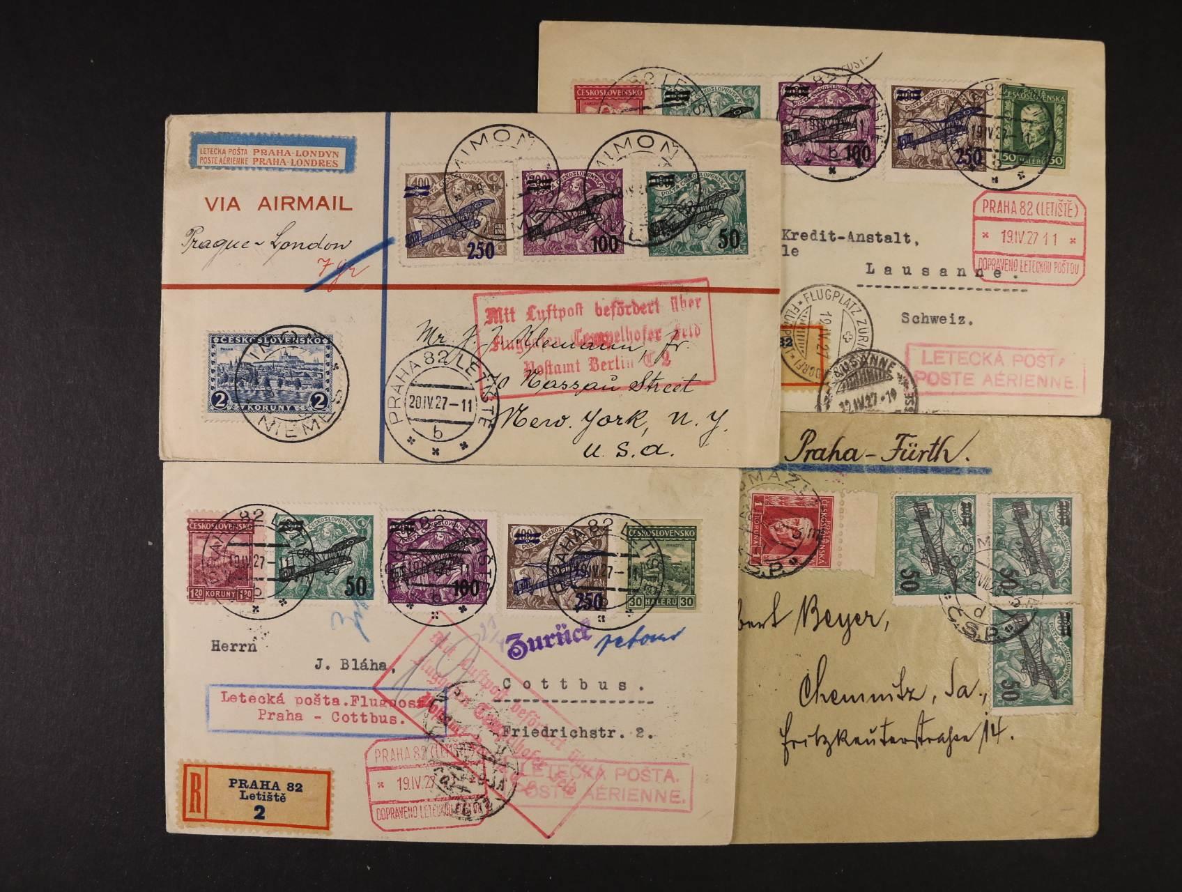 4 let dopisy z let 1926 - 27 s II. leteckou emisí do N. Yorku, Chemnitz, Cottbus, Lausanne, lepší letecká razítka, směrovky