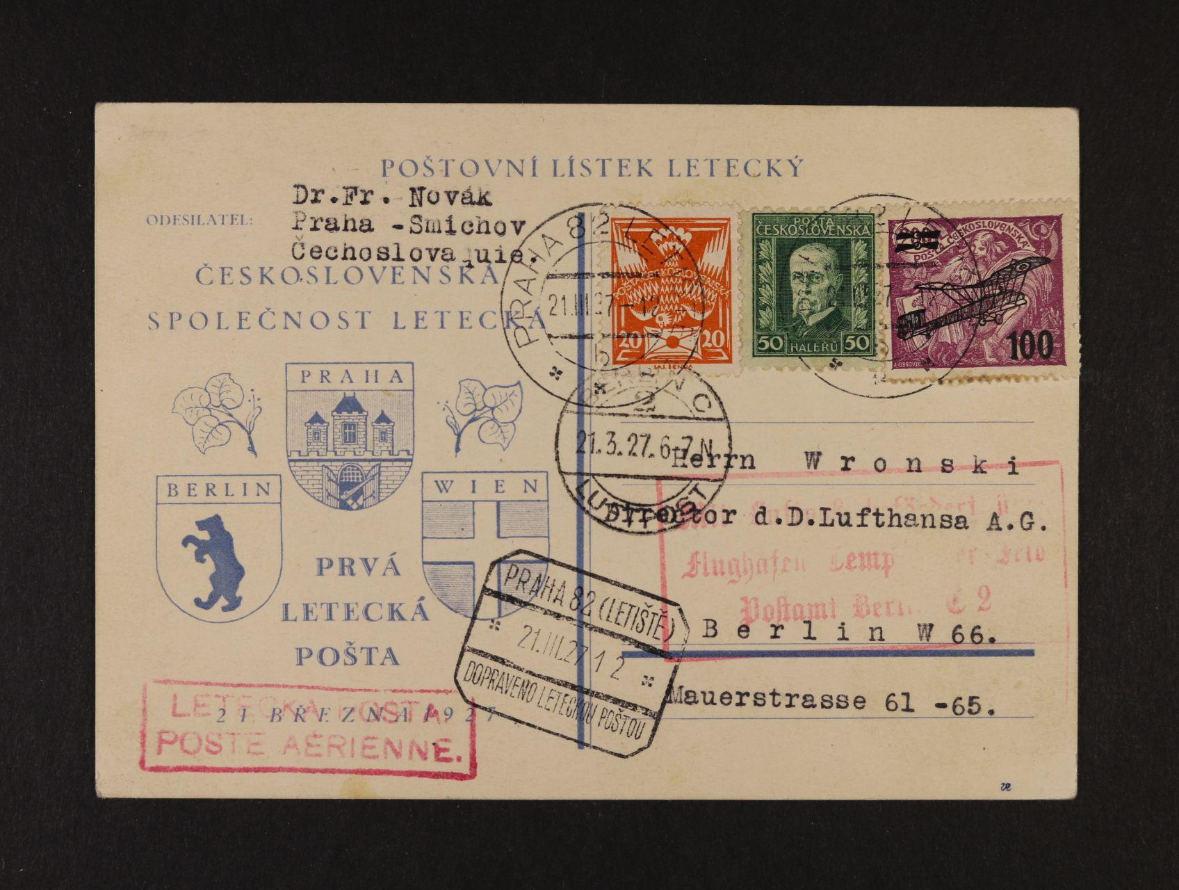 spec. KL pro první let Praha - Berlín frank.mj. zn. L č. 5, pod. raz. PRAHA 82 LETIŠTĚ 21.3.27, letecký kašet + průch. a přích. raz.