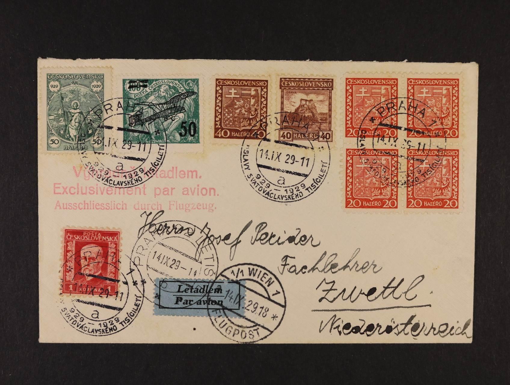 let. dopis do Rakouska frank. výpl. zn. + zn. L č. 4, pod. raz. PRAHA 1 14.9.29, průch. raz. PRAHA LETIŠTĚ, přích. raz.