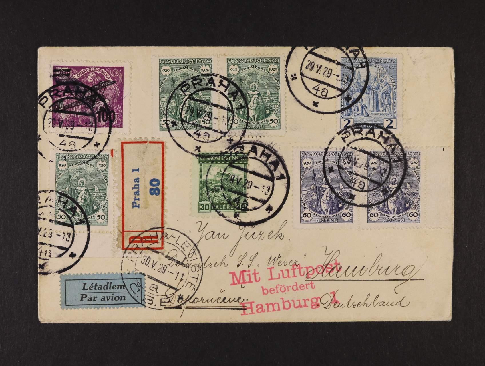 R-let. dopis do Německa frank. výpl. zn. + L č. 5m, pod. raz. PRAHA 1 29.5.29, průch. raz. PRAHA LETIŠTĚ, červený let. kašet + přích. raz.