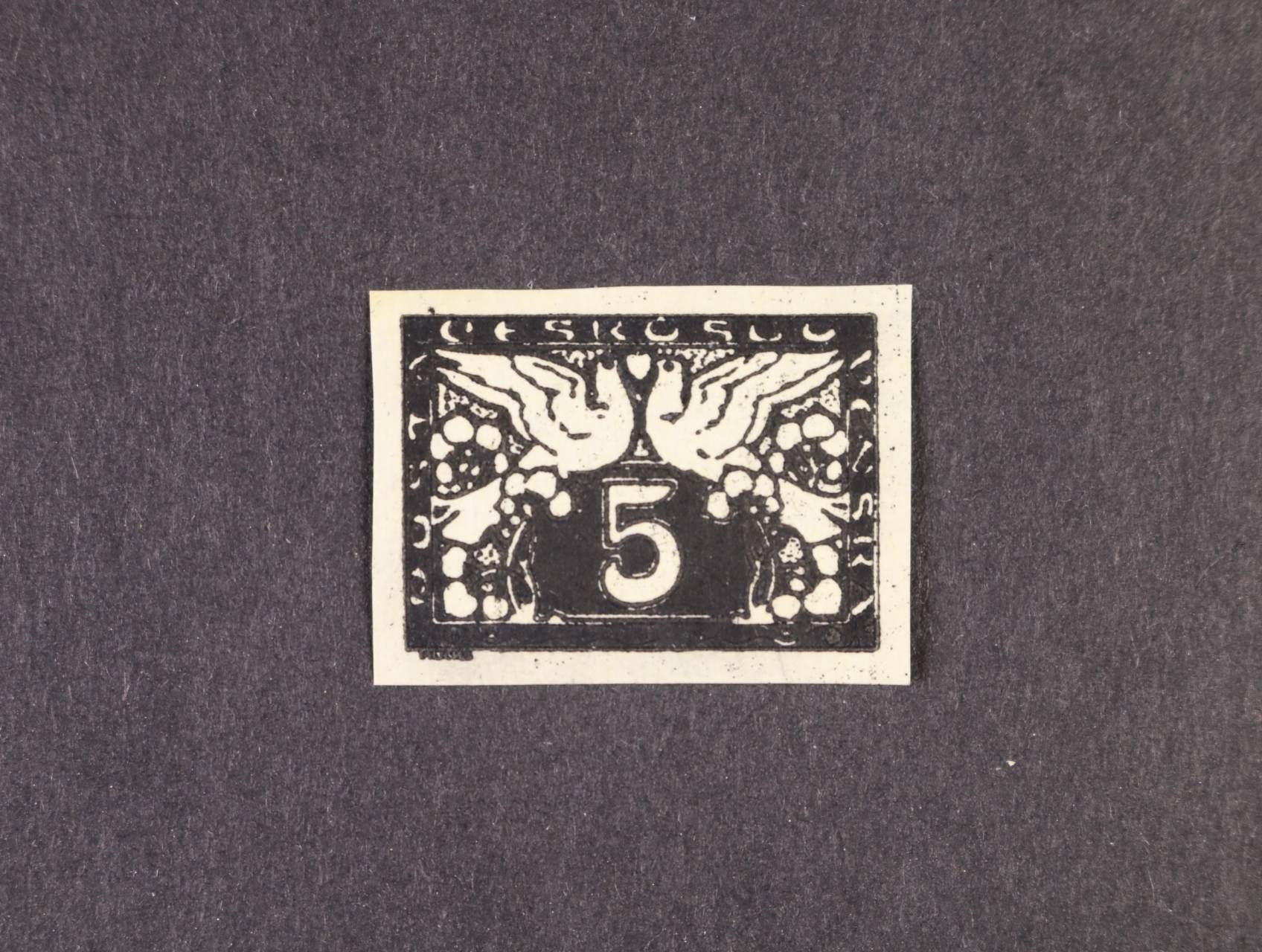 ZT S č. 2  5h v černé barvě na známkovém papíře, zk. Gilbert
