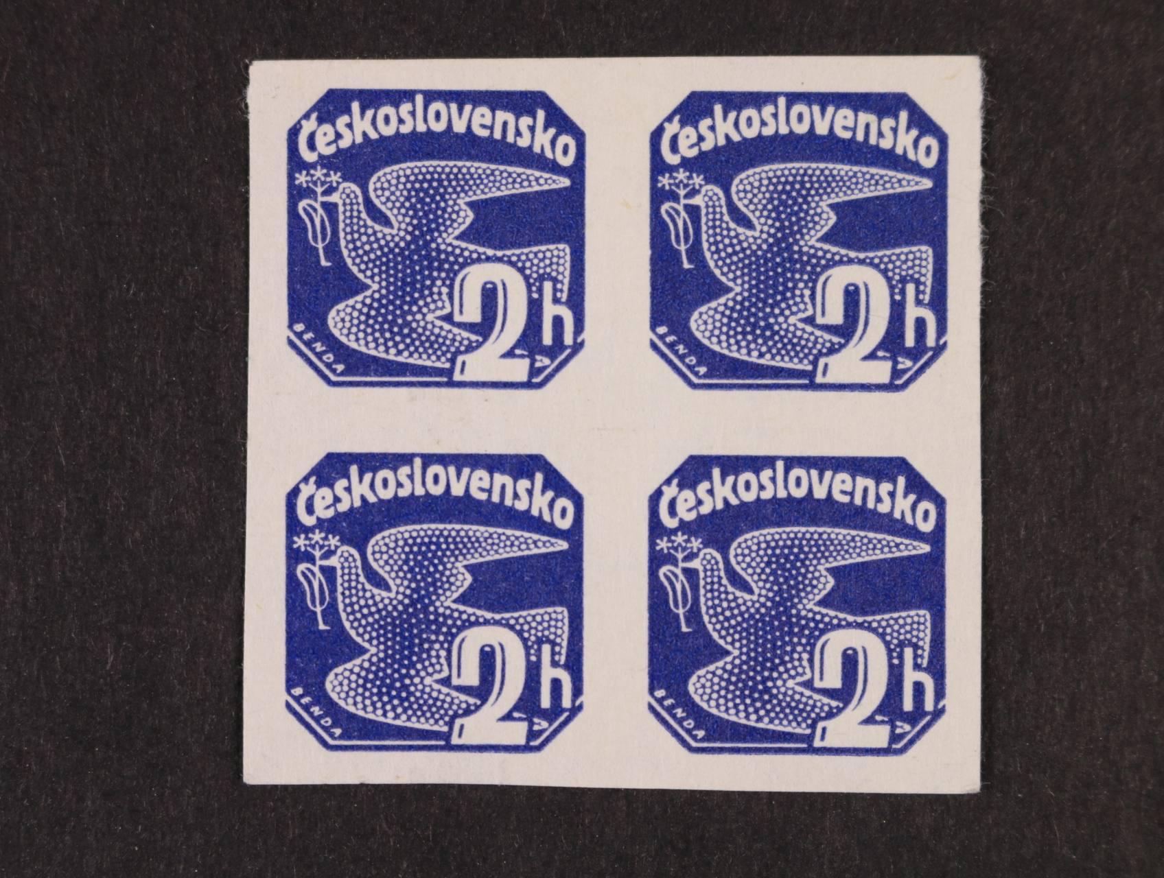 ZT zn. NV č. 14 ve čtyřbloku v modré barvě na bílém papíře, zk. Karásek